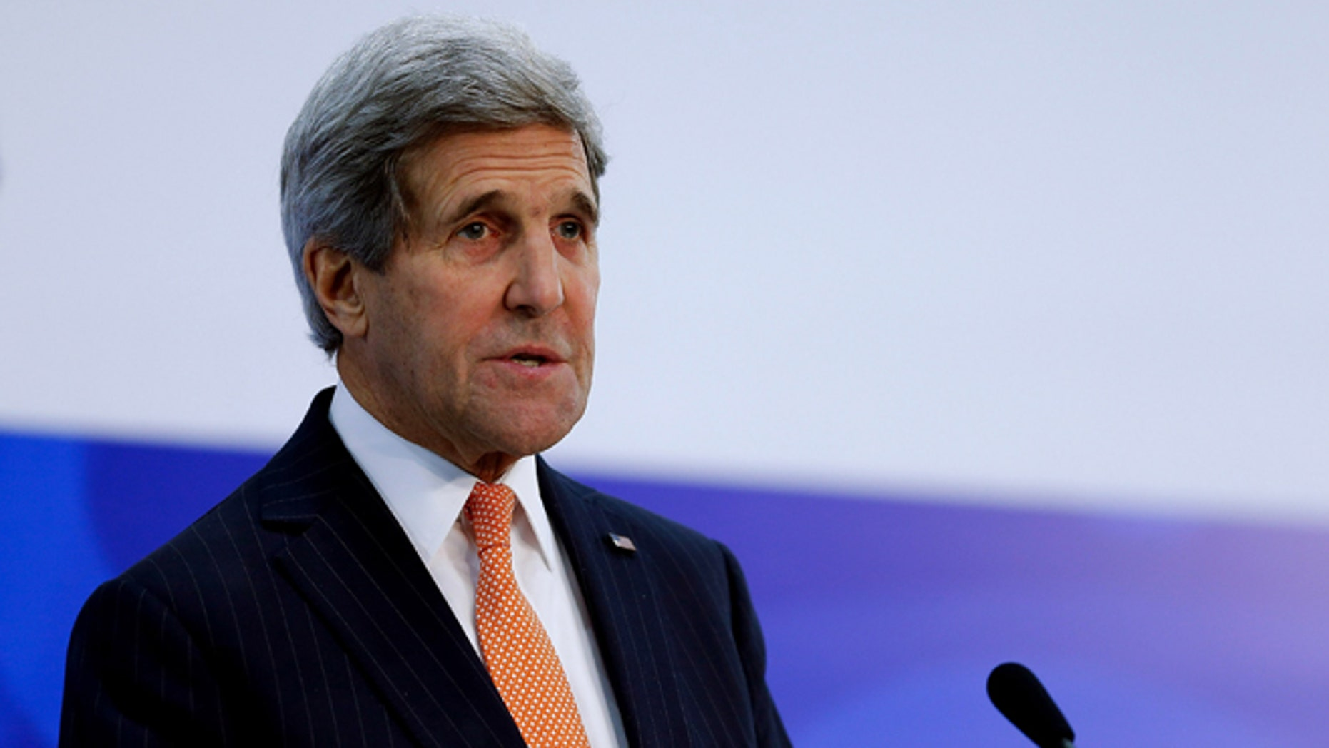 BEIJING, CHINA - NOVEMBER 08:  U.S. Secretary of State John Kerry speaks during a press conference during the Asia-Pacific Economic Cooperation (APEC) Summit at the China National Convention Center on November 8, 2014, in Beijing, China. From November 7-11, the APEC 2014 Summit will bring together leaders and senior administration from 21 countries, with U.S. President Barack Obama and Russian President Vladimir Putin expected to attend.  (Photo by Lintao Zhang/Getty Images)