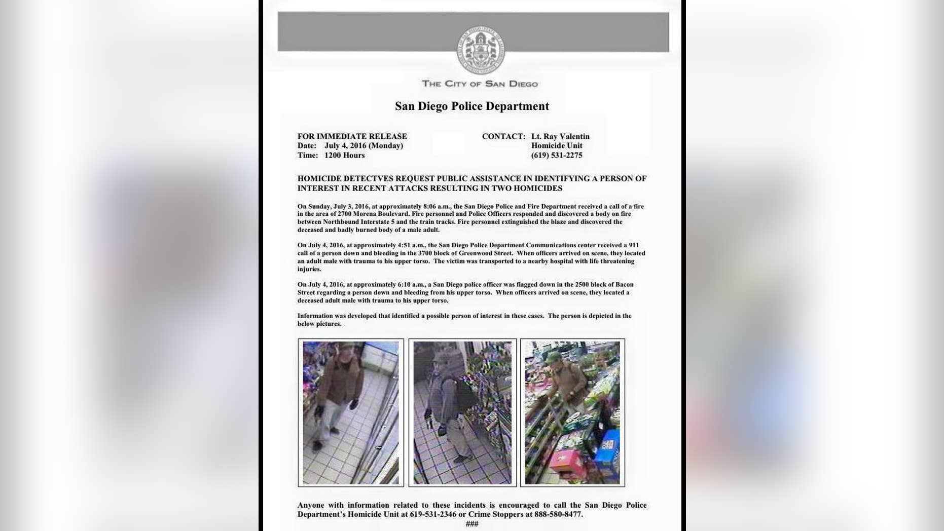 San Diego Police are searching for a man in connection with attacks on several homeless individuals.