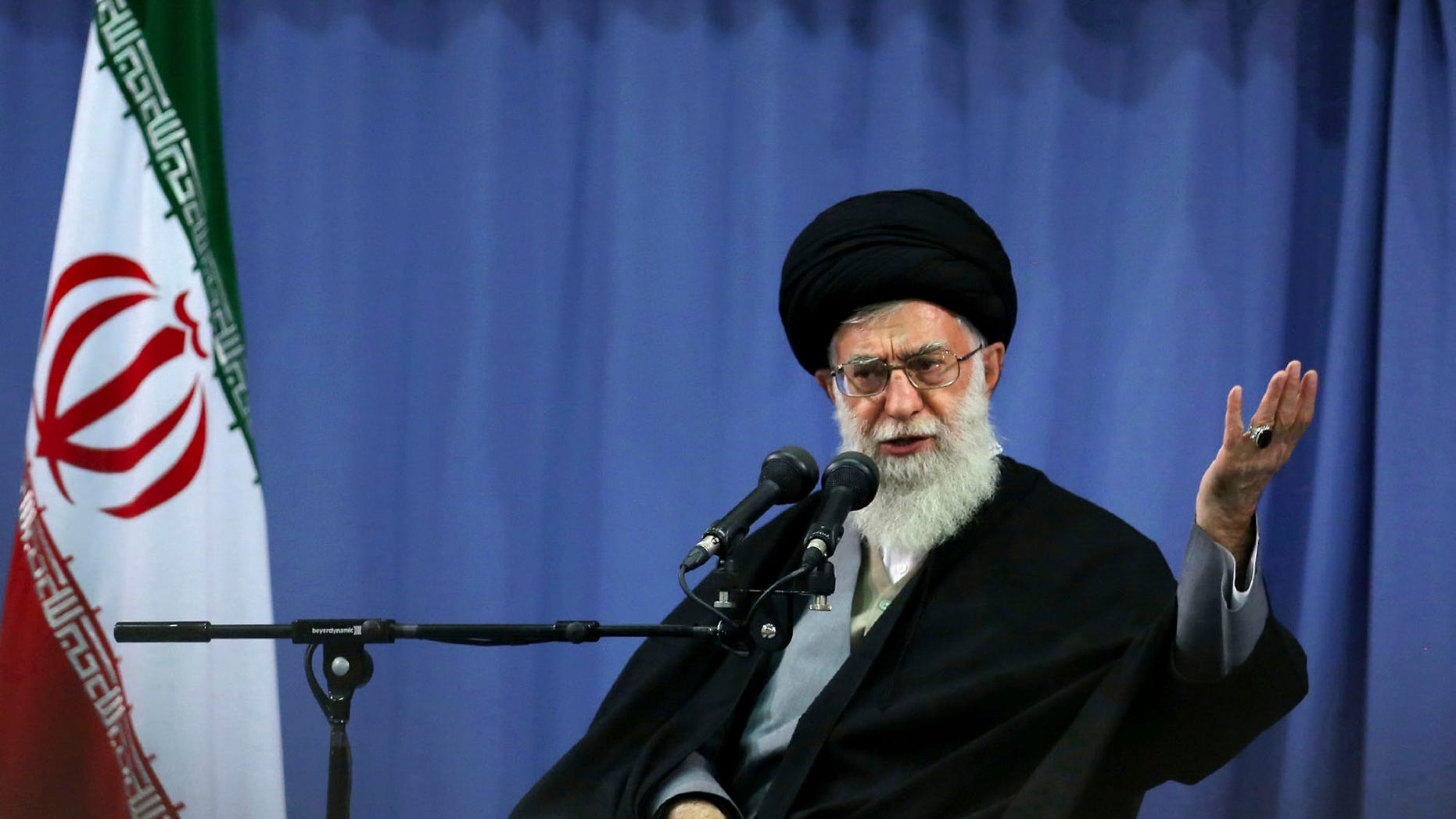 In this photo released by an official website of the Iranian supreme leader's office, supreme leader Ayatollah Ali Khamenei, addresses a group of Iranian military commanders in Tehran, Iran, Wednesday, April 17, 2013. Iran's top leader has condemned the bombing attack in Boston but at the same time charged that U.S. policies employ a double standard. (AP Photo/Office of the Supreme Leader)