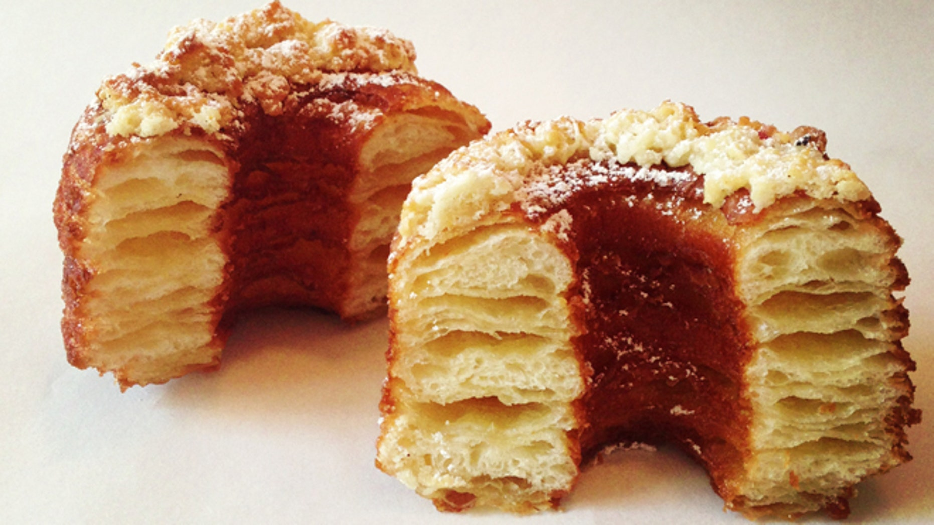 The original Cronut is flavored with crystallized sugar, Tahitian vanilla-flavored ganache and finished off with a rose glaze.