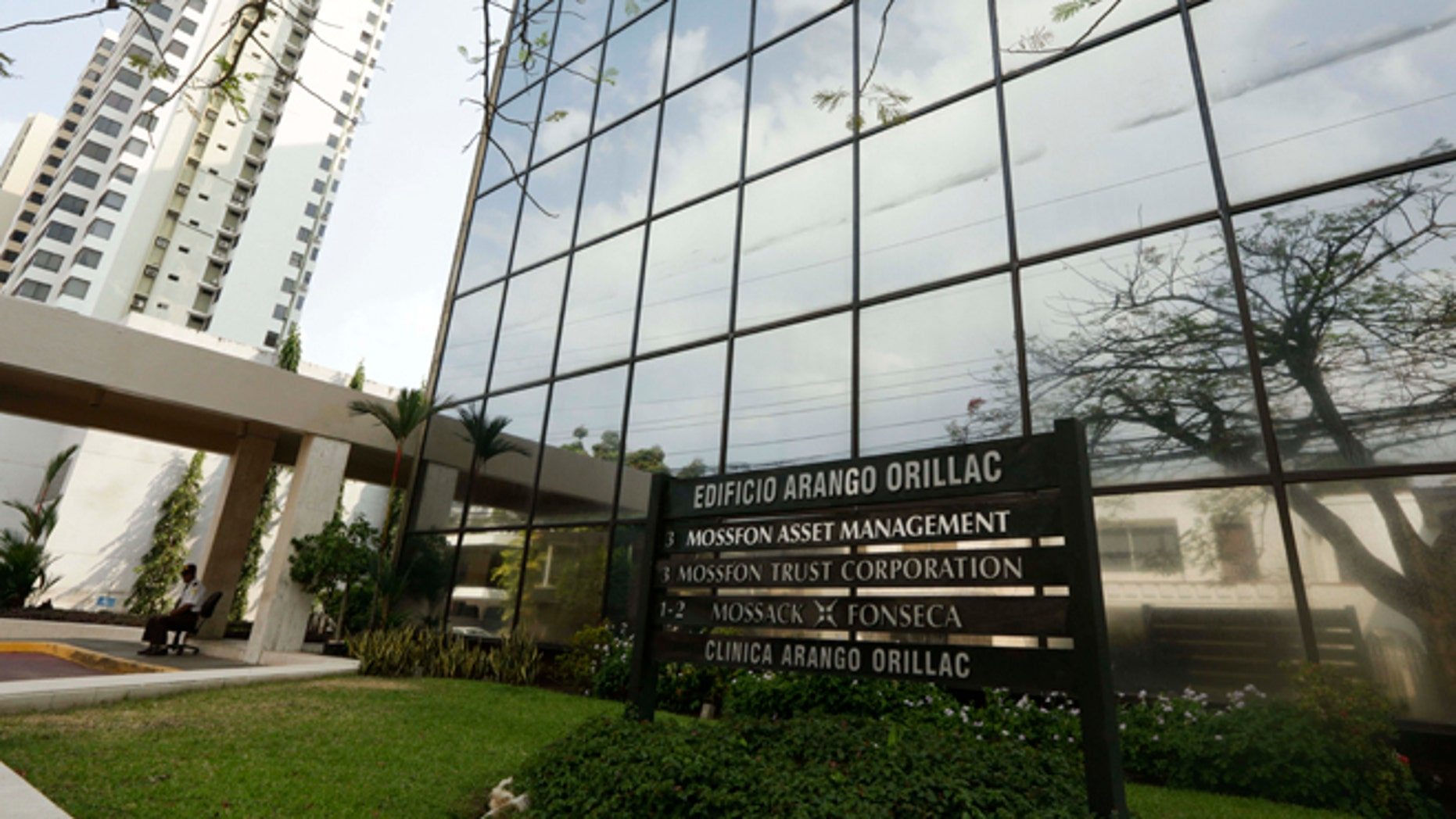 A marquee of the Arango Orillac Building lists the Mossack Fonseca law firm in Panama City, Sunday, April 3, 2016.