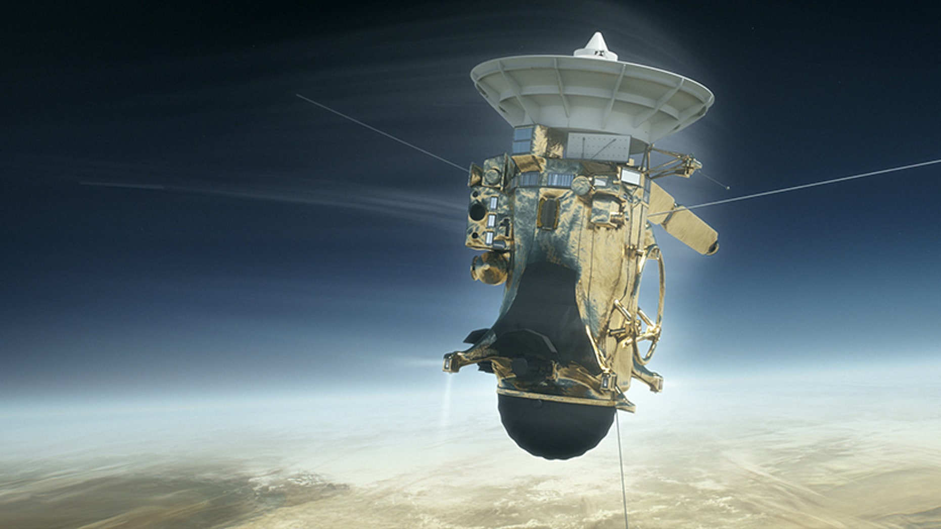 Artist's impression of NASA's Cassini spacecraft plunging into Saturn's atmosphere on Sept. 15, 2017.