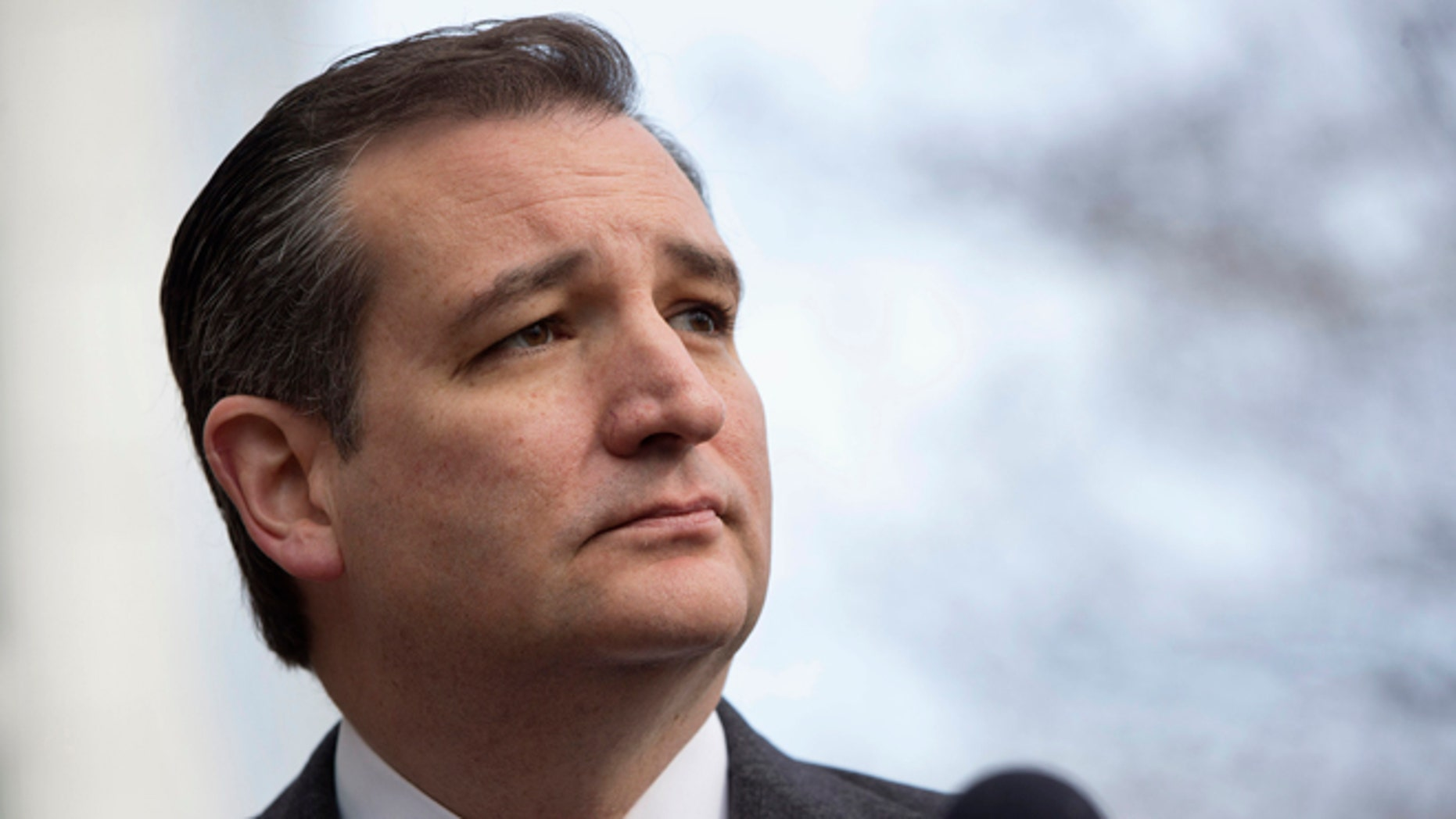 "Republican presidential candidate, Sen. Ted Cruz, R-Texas pauses while speaking to the media about events in Brussels, Tuesday, March 22, 2016, near the Capitol in Washington. Cruz said he would use the ""full force and fury"" of the U.S. military to defeat the Islamic State group.  (AP Photo/Jacquelyn Martin)"