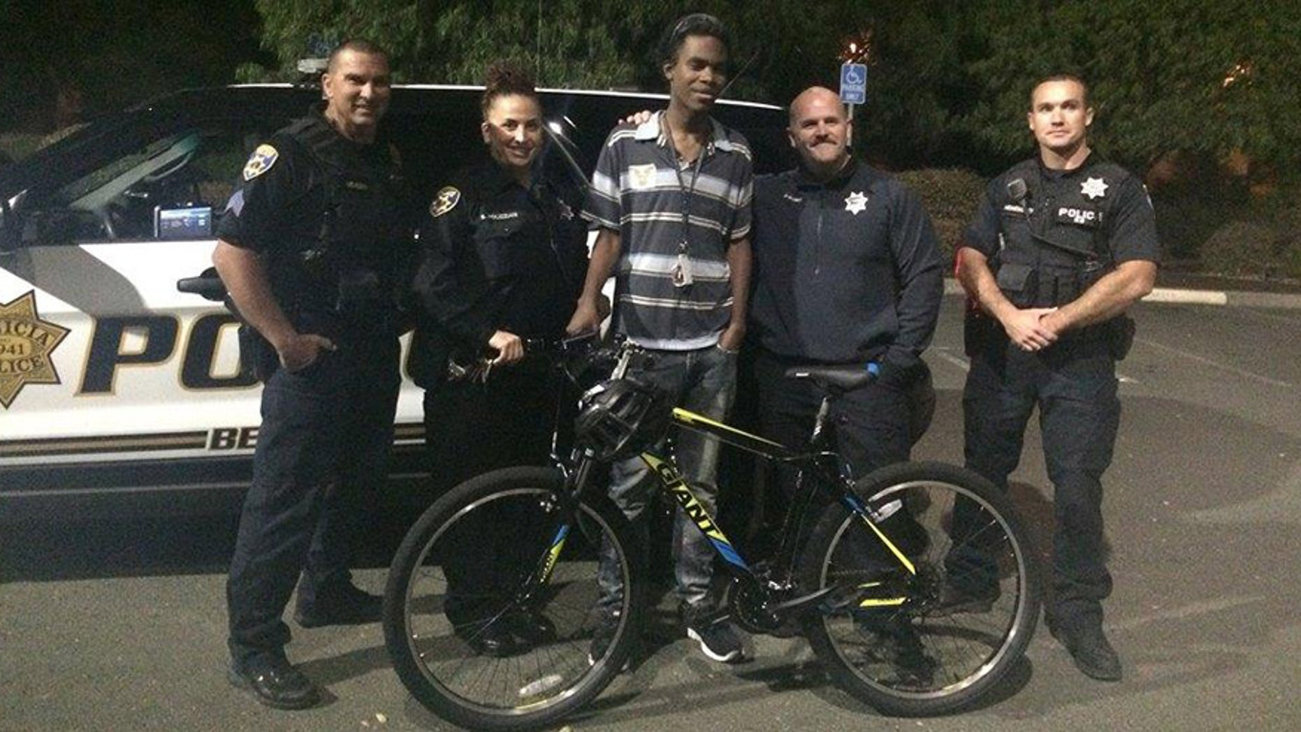 Benicia, Calif., police officers surprise Jourdan Duncan with a bike after finding out he walked more than seven miles to and from work.