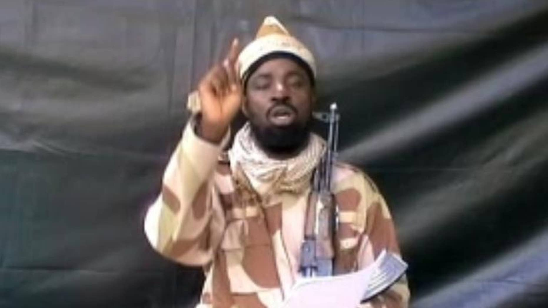 A grab made on July 13, 2013 from a video obtained by AFP shows the leader of the Islamist extremist group Boko Haram Abubakar Shekau
