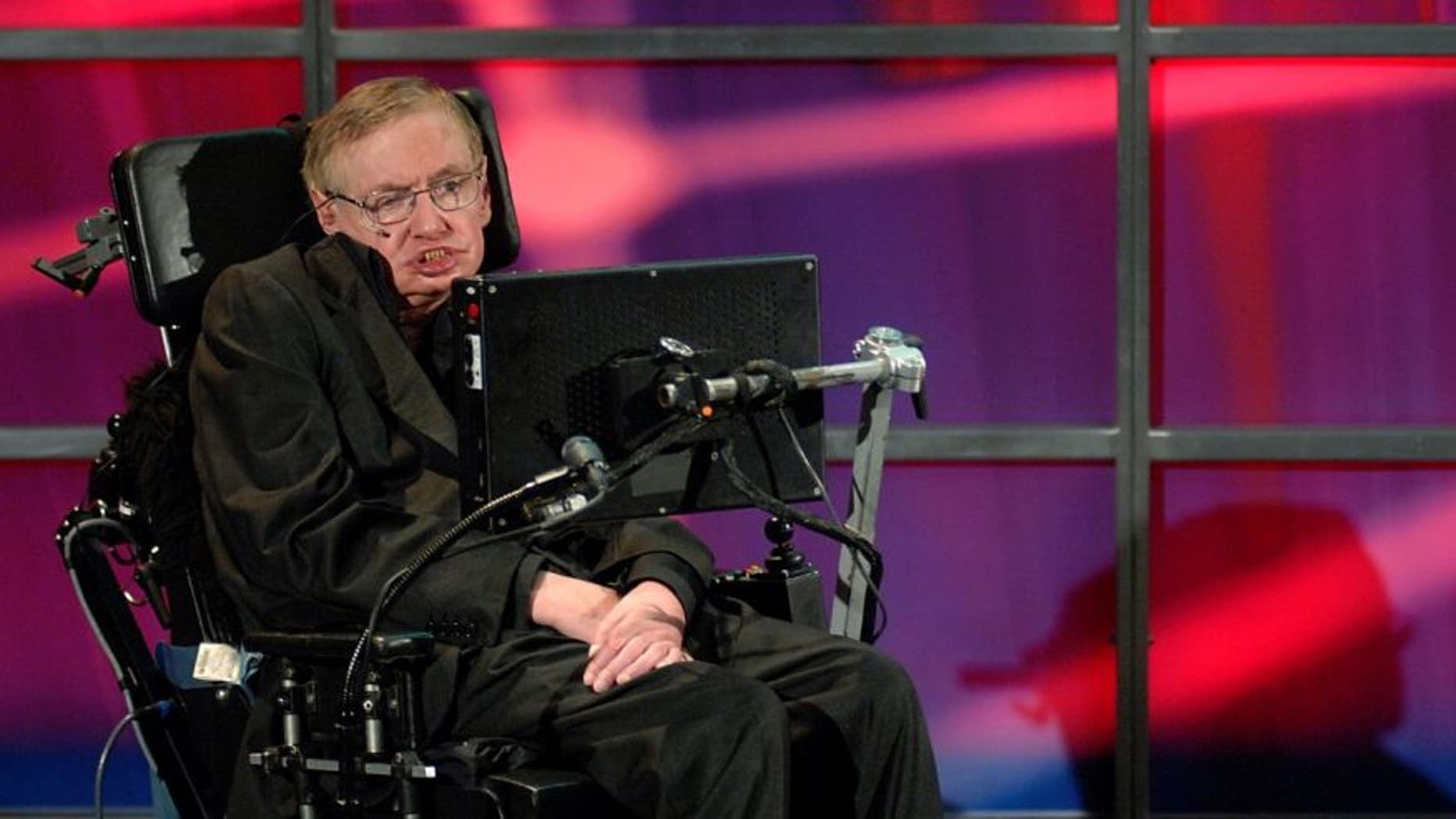 Theoretical physicist Stephen Hawking speaks at his official welcoming ceremony at Perimeter Institute For Theoretical Physics in Kitchener in 2014.