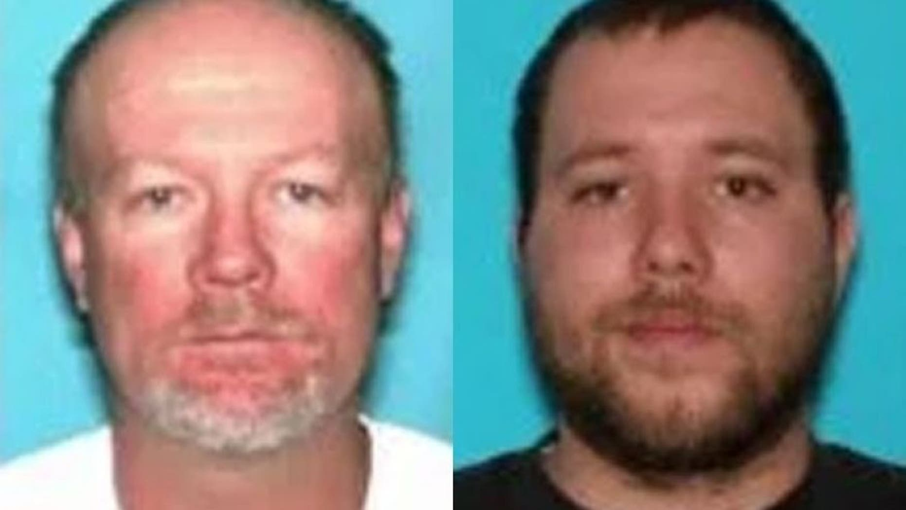 """Officers said the suspects, 51-year-old Flint Wayne Harrison and his son 22-year-old Dereck James (DJ) Harrison, had """"wire ties and duct tape prepared and ready to use"""" in the basement."""