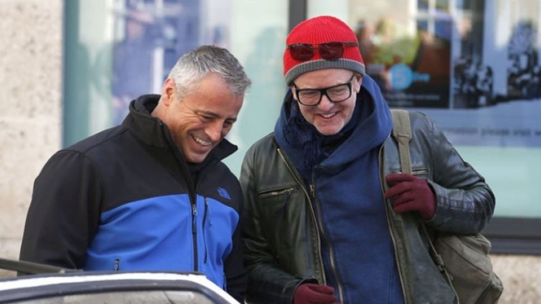 Chris Evans, right, with Matt LeBlanc in February