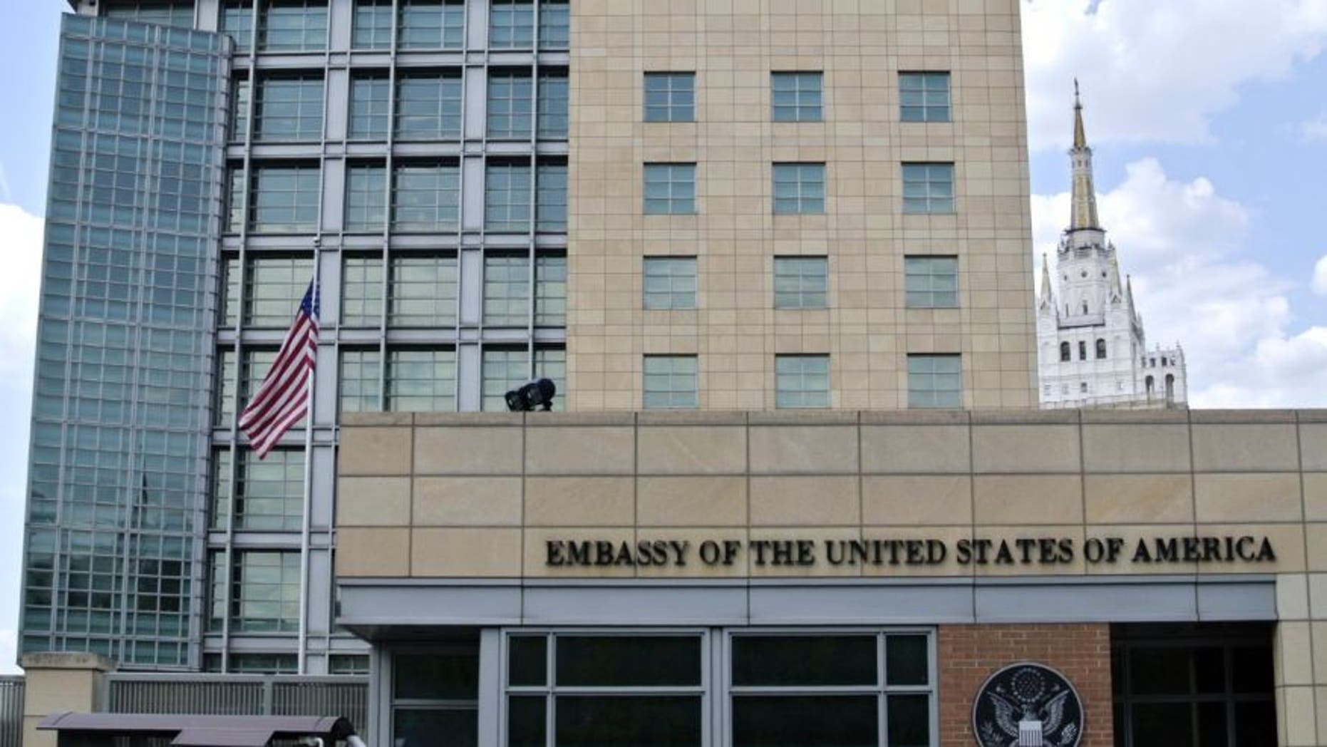 The U.S. Embassy in downtown Moscow. (AP Photo/Ivan Sekretarev)