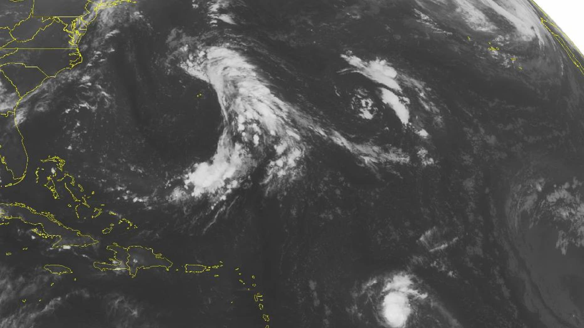 This NOAA satellite image taken Saturday, Aug. 22, 2015 at 12:45, a.m. EDT shows a small but strong Hurricane Danny packing winds of 110 miles an hour moving slowly west toward the Windward Islands. Danny is expected to weaken as it approaches the islands early Monday morning. Otherwise, mainly quiet weather will be in control over much of the Caribbean with typical summertime convection popping due to daytime heating. (Weather Underground via AP)