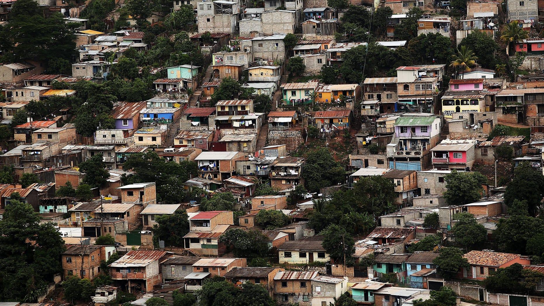 Slums are viewed in the capital city of Tegucigalpa, Honduras.