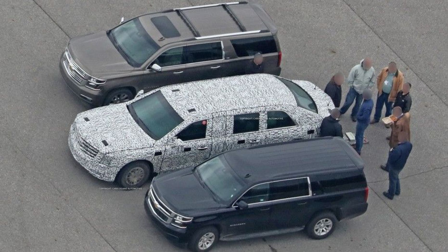 The new Presidential limousine undergoing testing in February 2017