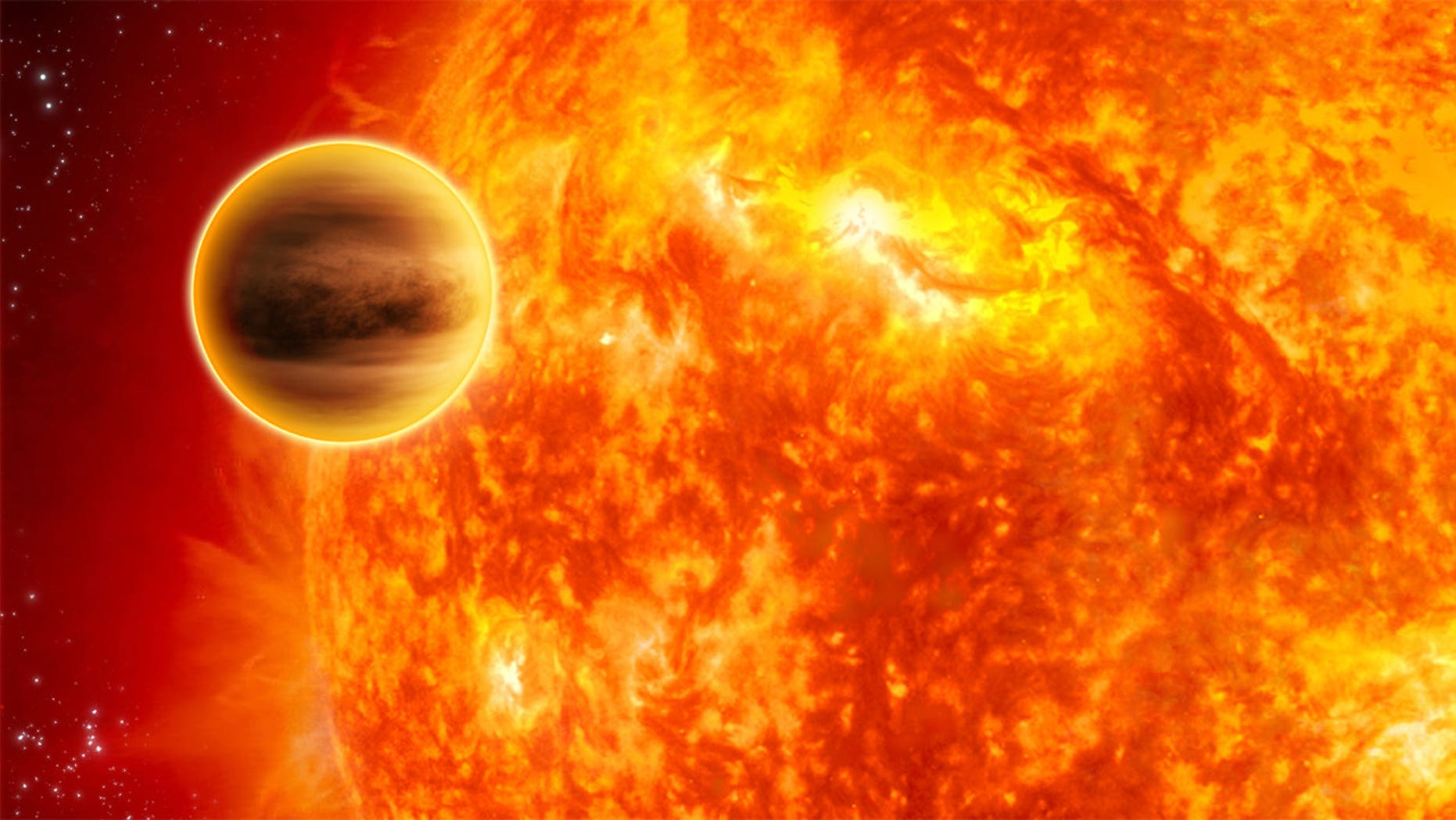 "An artist's depiction of a so-called ""hot Jupiter""-type planet orbiting a star of about the same size as our sun."