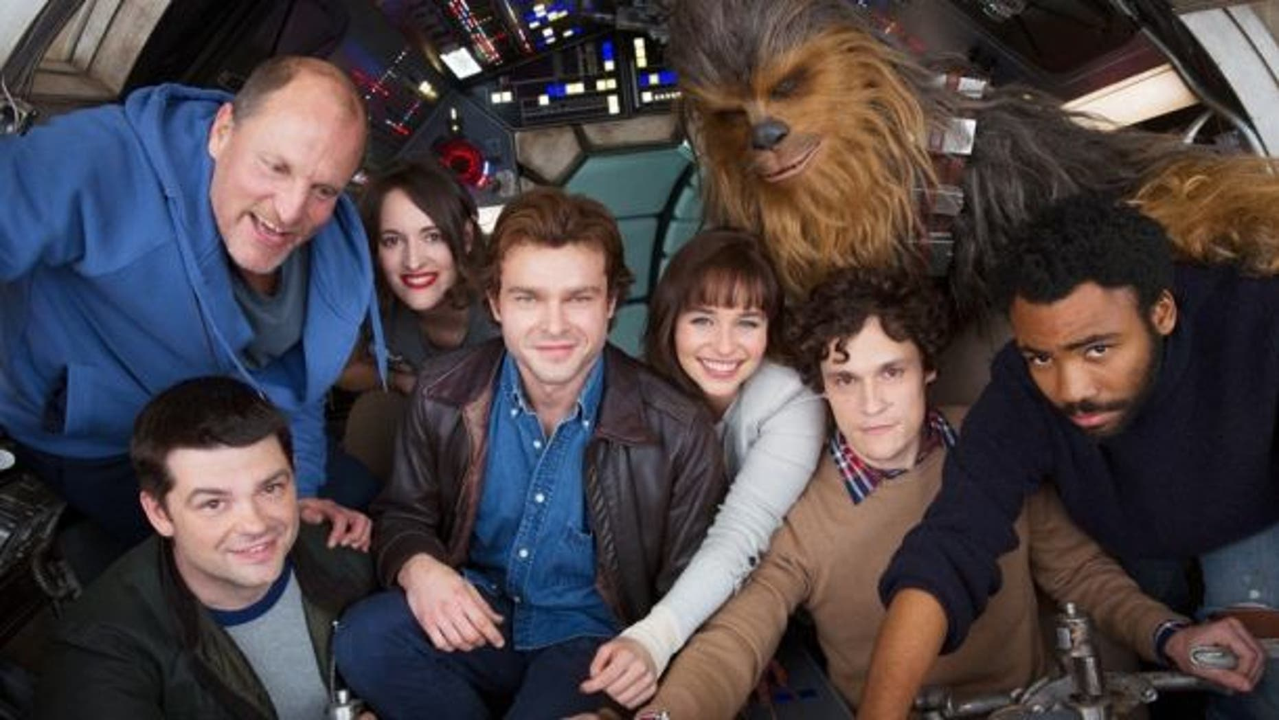 """Han Solo"" cast with Alden Ehrenreich in the brown jacket."