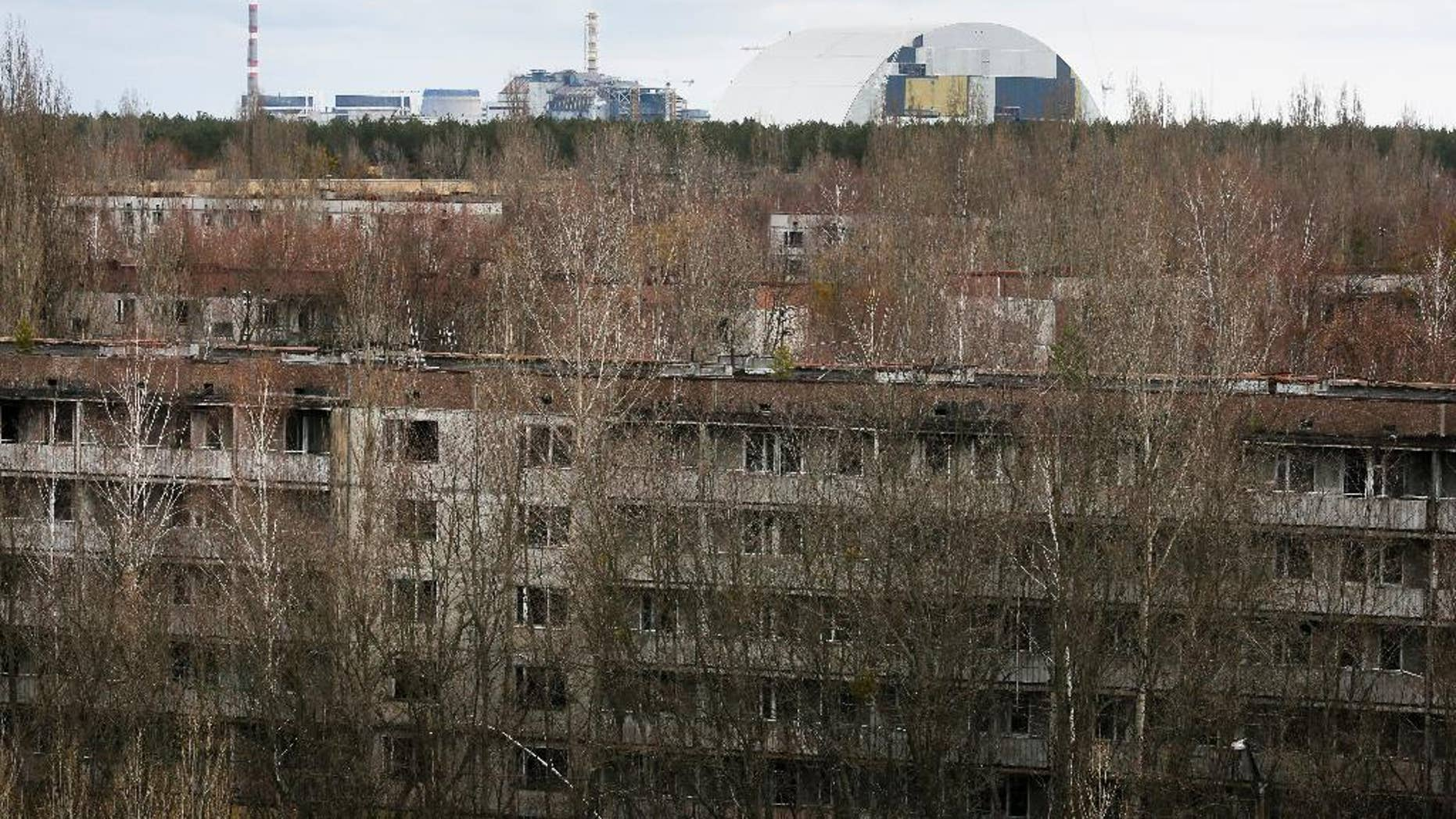 March 23, 2016: Abandoned apartment buildings in the town of Pripyat near Chernobyl, Ukraine.