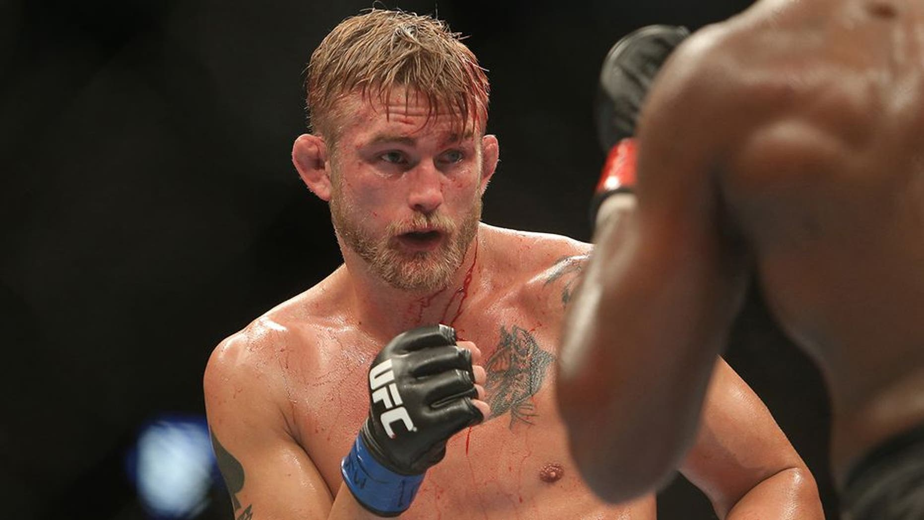 Sep 21, 2013; Toronto, Ontario, CAN; Alexander Gustafsson (left) fights Jon Jones during their Light Heavyweight Championship bout at UFC 165 at the Air Canada Centre. Mandatory Credit: Tom Szczerbowski-USA TODAY Sports