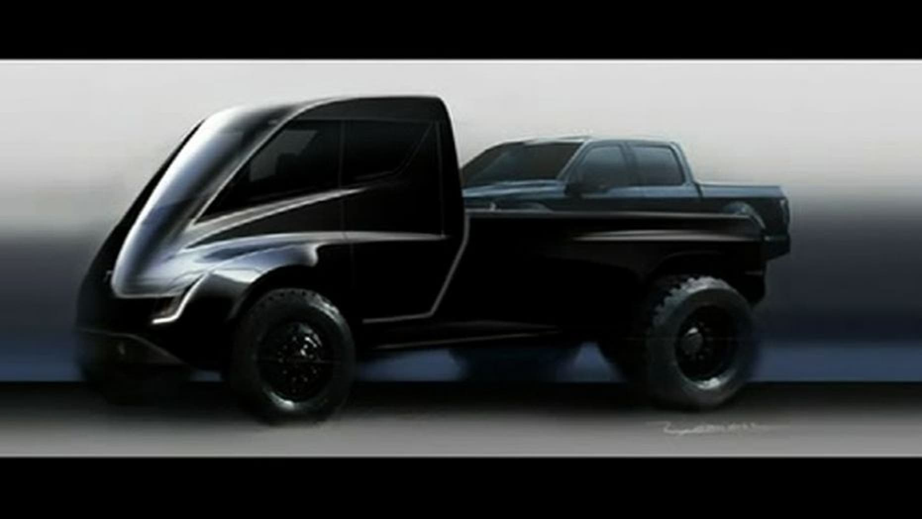 A likely humorous rendering of a Tesla pickup based on its new Semi tractor.