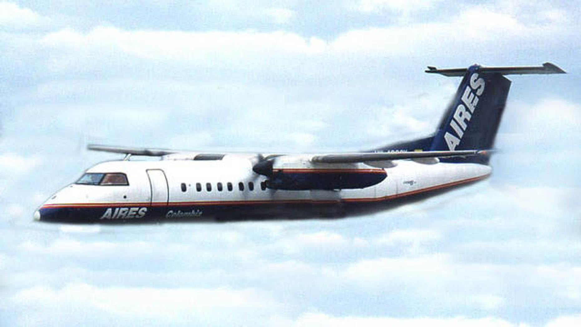 A Dash 8 aircraft like the one that crashed in Colombia Saturday, killing 4 people and injuring 2. (AP Photo)