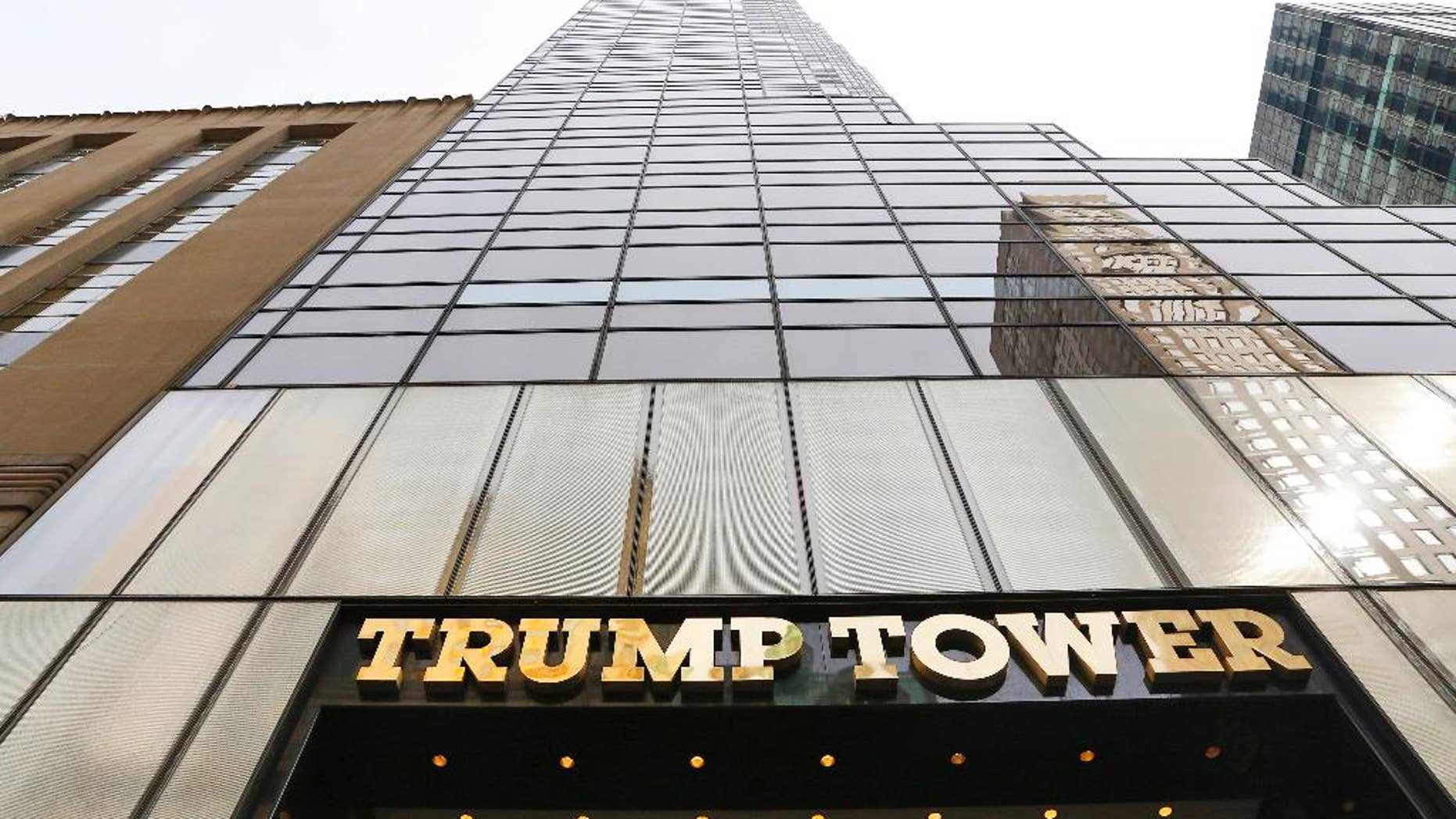FILE - In this March 16, 2016 file photo, Trump Tower is seen in New York. The U.S. military is looking to rent space at Trump Tower for use when President Donald Trump returns to his longtime home in New York City. (AP Photo/Mark Lennihan, File)