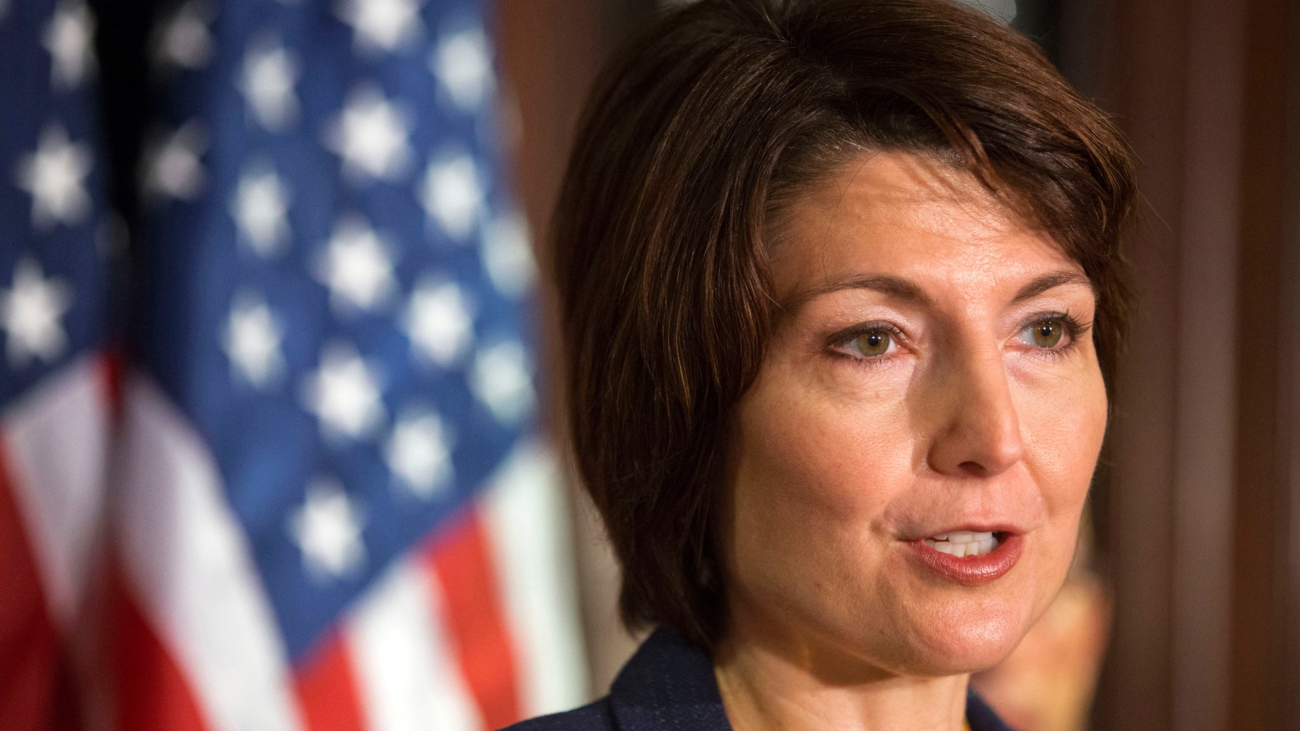 FILE - In this April 16, 2013 file photo, Rep. Cathy McMorris Rodgers, R-Wash. speaks on Capitol Hill in Washington. McMorris Rodgers, the highest ranking GOP woman in Congress, will give the party's response to President Barack Obama's State of the Union address on Tuesday. (AP Photo/Jacquelyn Martin, File)
