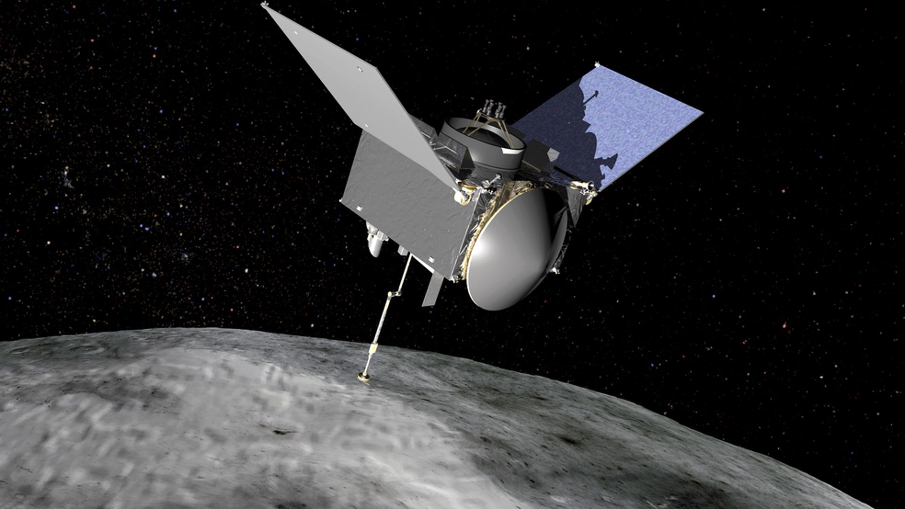 NASA's Origins, Spectral Interpretation, Resource Identification, Security-Regolith Explorer (OSIRIS-REx) spacecraft, the first U.S. mission to sample an asteroid, will travel to the near-Earth asteroid Bennu, arriving in 2018, to survey the surface, retrieve at least 60 grams (2.1 ounces) of surface material, and return it to Earth in 2023 for study.