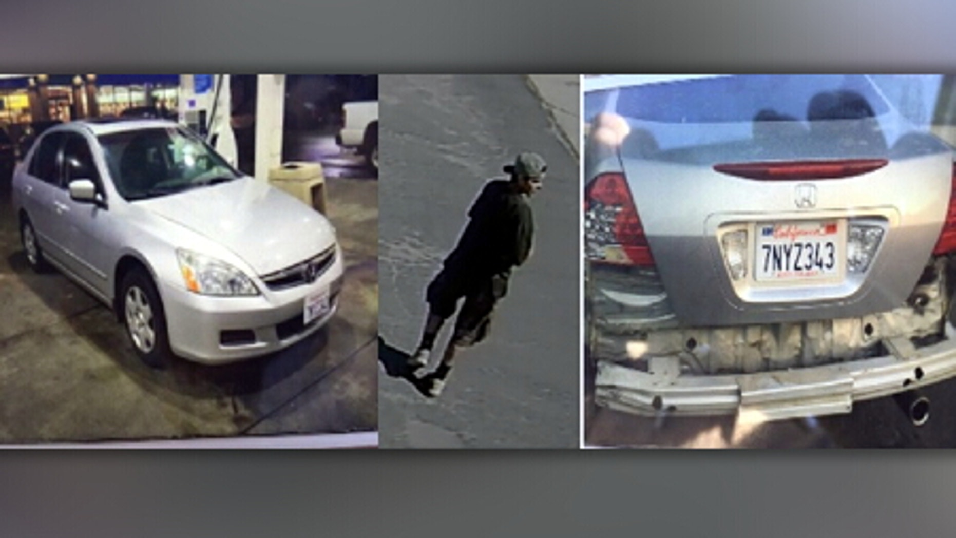 Images of the stolen car and the man police say took it.