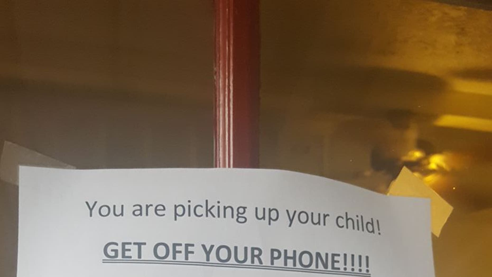 Photo of the sign posted outside the Texas day care.