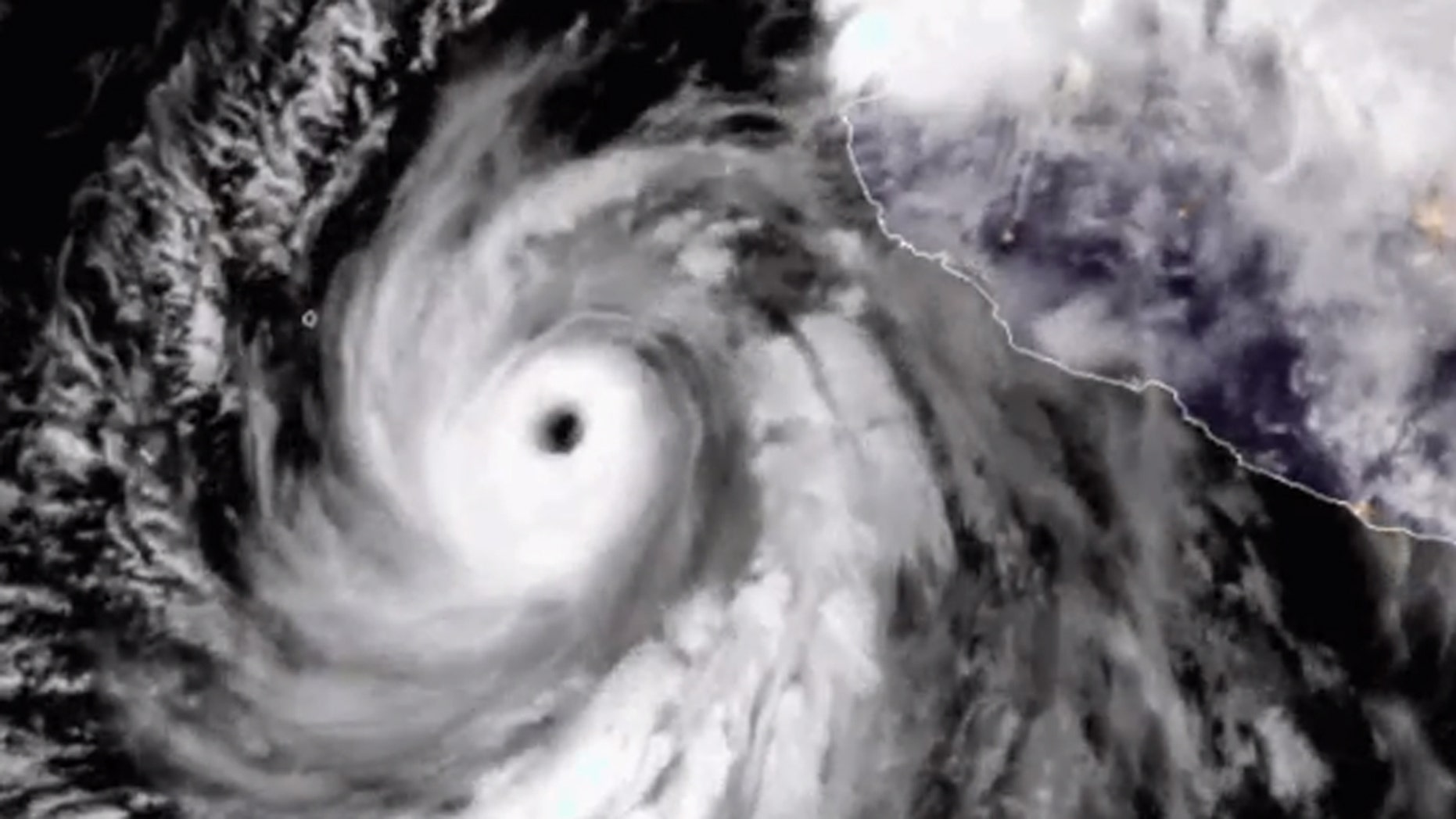 Hurricane Bud is seen off Mexico's coast in this satellite photo on Tuesday.