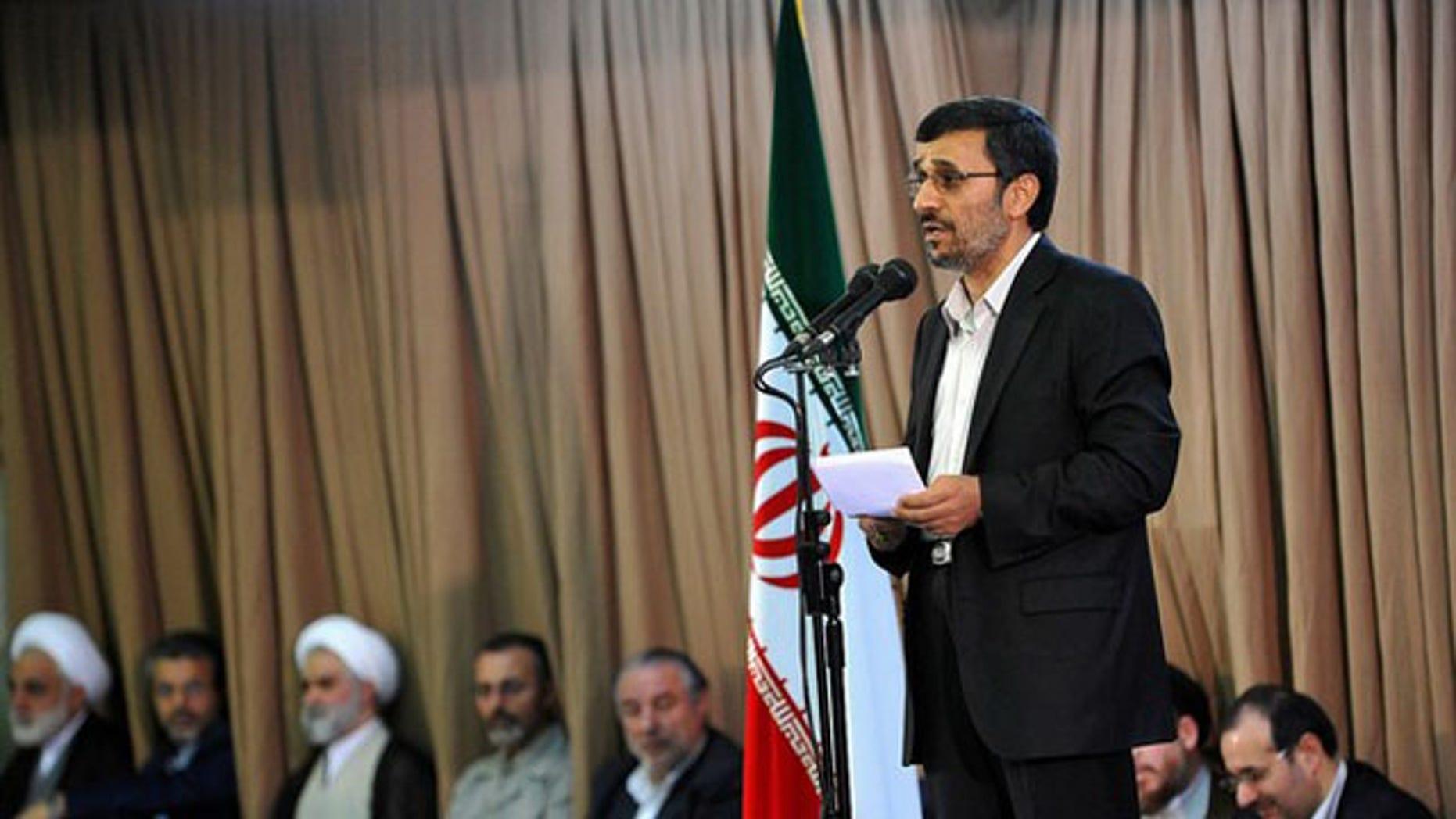 Aug. 2010: Iran's President Mahmoud Ahmadinejad speaks during a meeting with Iran's Supreme Leader Ayatollah Ali Khamenei in Tehran.