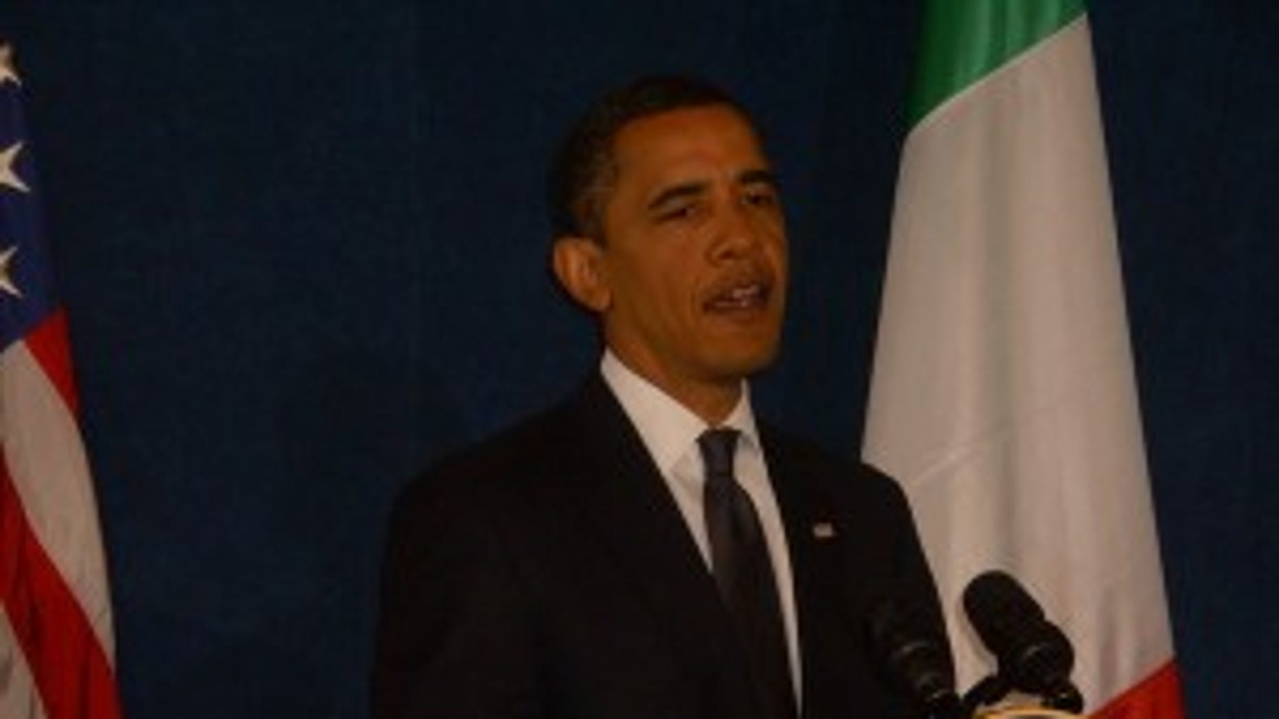 President Obama at a closing press conference in L'Aquila, Italy (photo by Major Garrett)