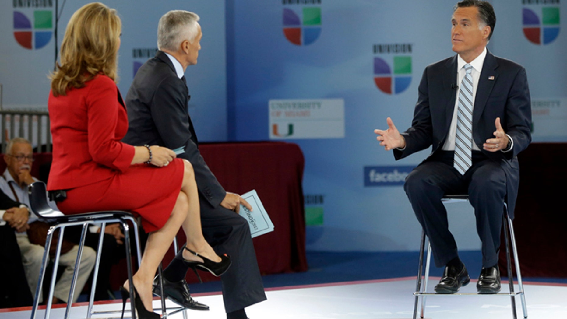 """Republican presidential candidate and former Massachusetts Gov. Mitt Romney participates in a Univision """"Meet the Candidates"""" forum with Jorge Ramos and Maria Elena Salinas in Miami, Wednesday, Sept. 19, 2012.  (AP Photo/Charles Dharapak)"""