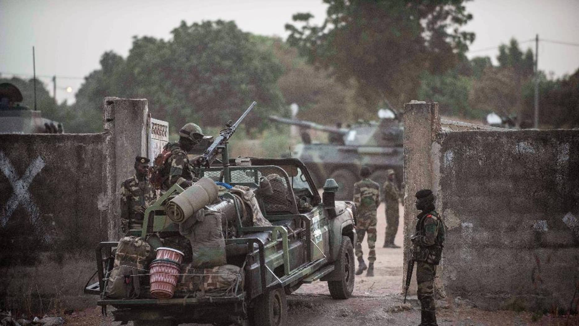 Jan. 20, 2017: Senegal soldiers providing security at their gathering point on the Gambia boarder with Senegal at the town of Karang, Senegal.