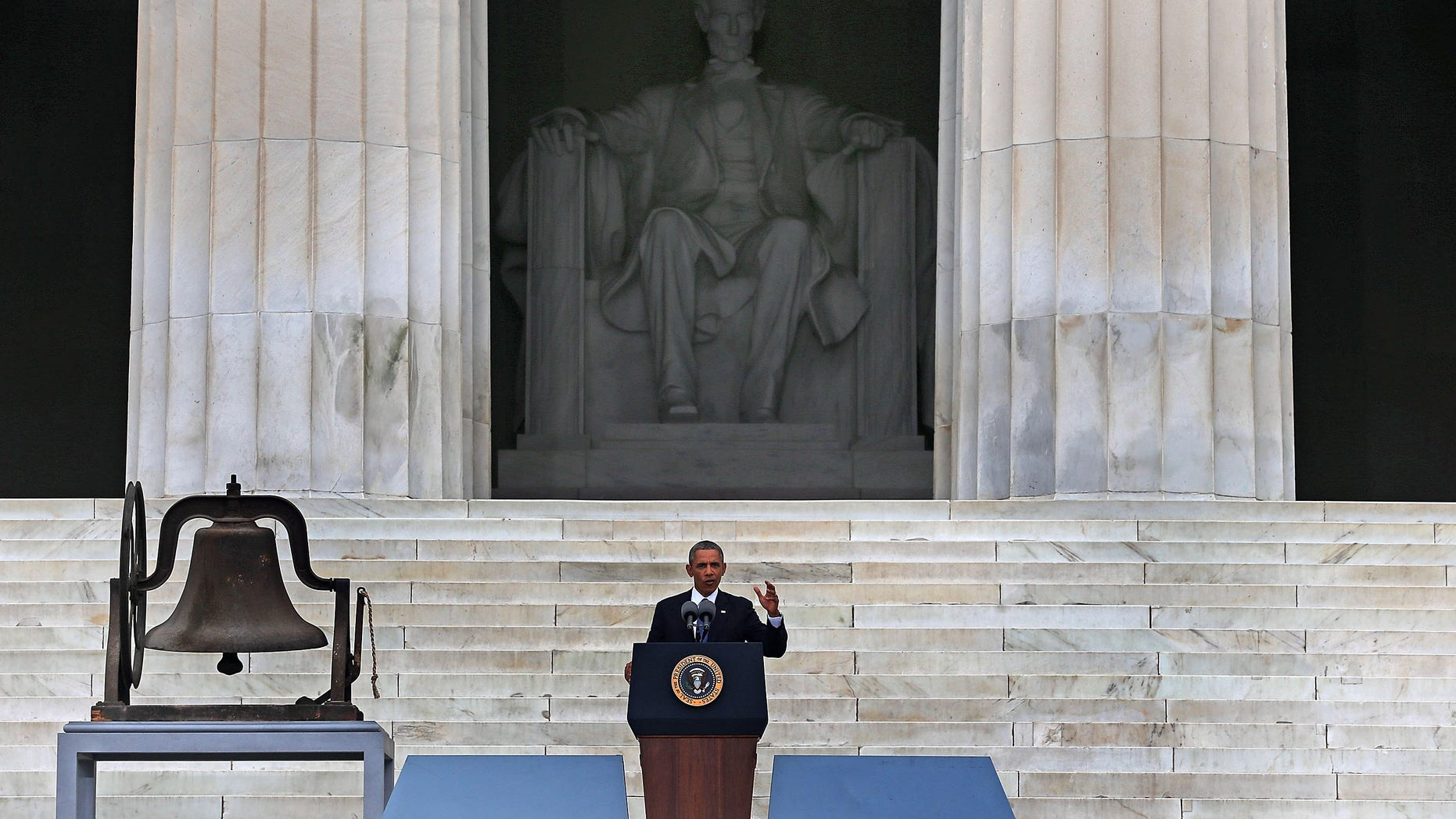 """WASHINGTON, DC - AUGUST 28:  U.S. President Barack Obama speaks during the ceremony to commemorate the 50th anniversary of the March on Washington for Jobs and Freedom August 28, 2013 in Washington, DC. It was 50 years ago today that Martin Luther King, Jr. delivered his """"I Have A Dream Speech"""" on the steps of the Lincoln Memorial. (Photo by Mark Wilson/Getty Images)"""