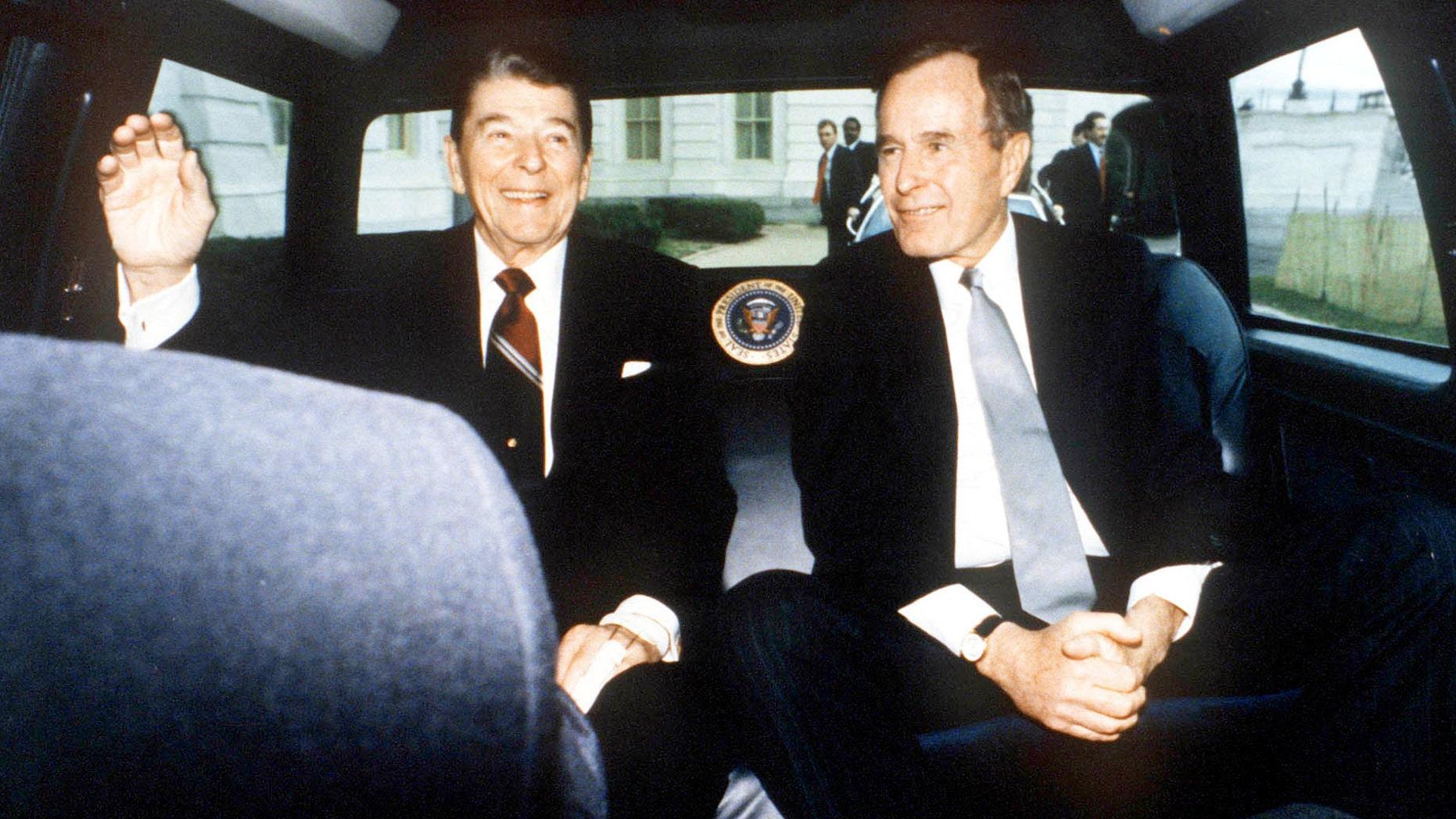 President Reagan and Vice President Bush on January 20, 1989, in Washington, D.C.