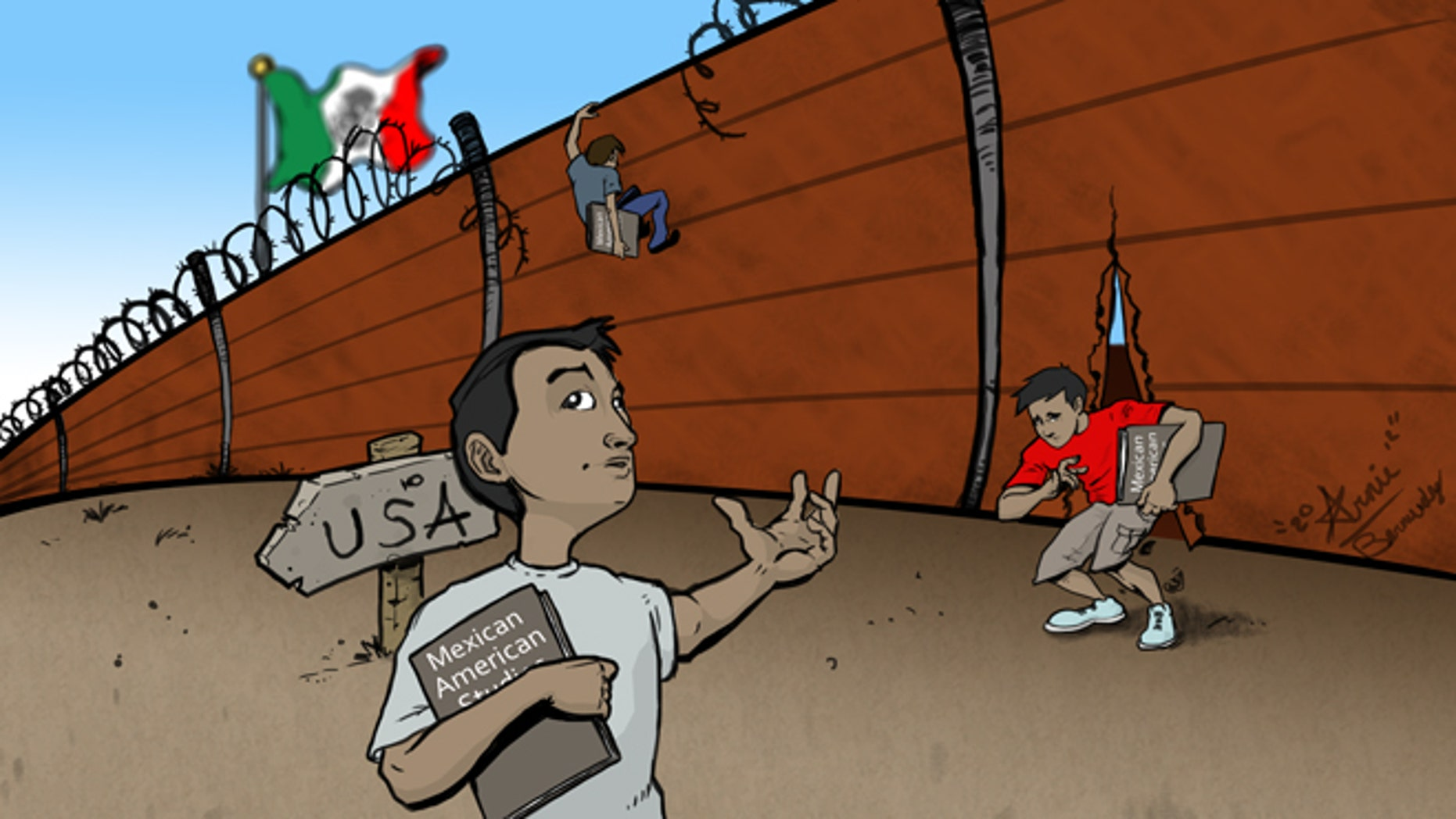 This is an illustration comparing crossing the border to the plight of Mexican American studies supporters who want to get the books and curriculum back into the TUSD.