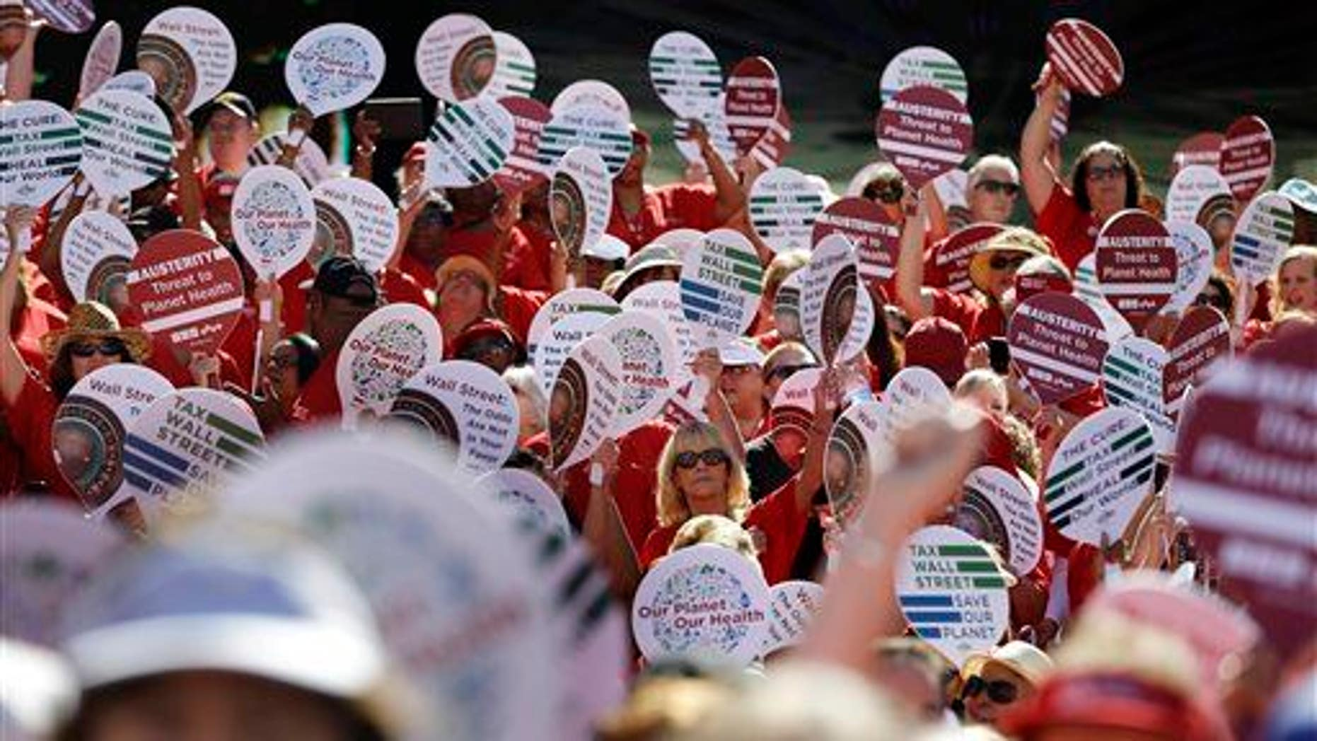 Nurses protest along Las Vegas Boulevard on Sept. 24, 2014, in Las Vegas.