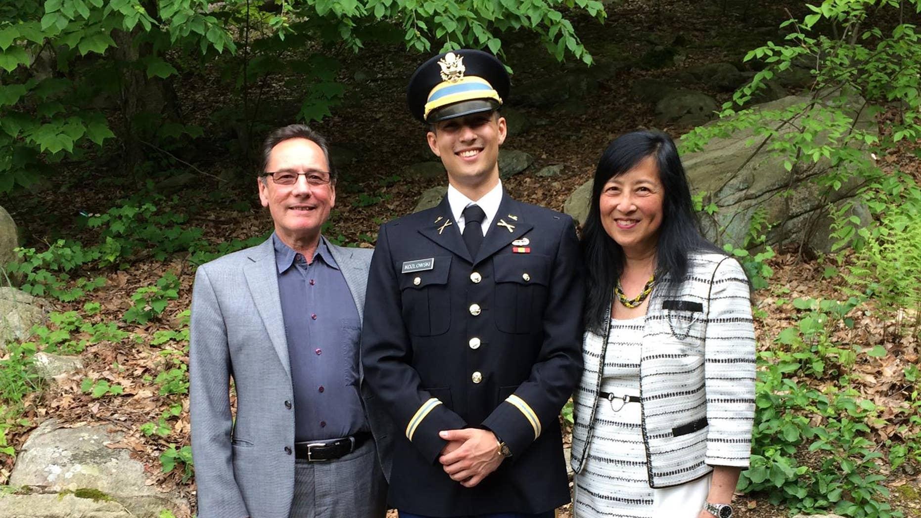 West Point graduate Alexander Kozlowski with father, Dr. Kozlowski and mother, Dr. Chao. (Alex Kozlowski)