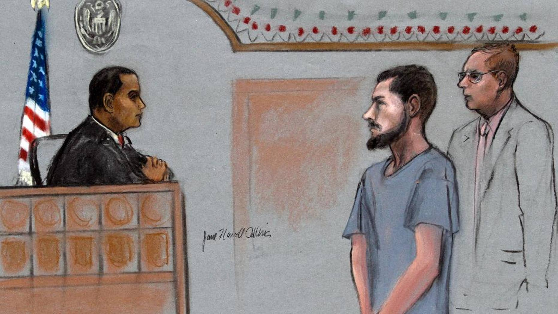 In this courtroom sketch, Nicholas Rovinski, second from right, of Warwick, R.I., is depicted standing with his attorney William Fick, right, as Magistrate Judge Donald Cabell, left, presides during a hearing Friday, June 12, 2015, in federal court in Boston. Rovinski  is accused of conspiring with Usaama Rahim of Boston, who was killed the previous week by terror investigators who had him under 24-hour surveillance. (Jane Flavell Collins via AP)