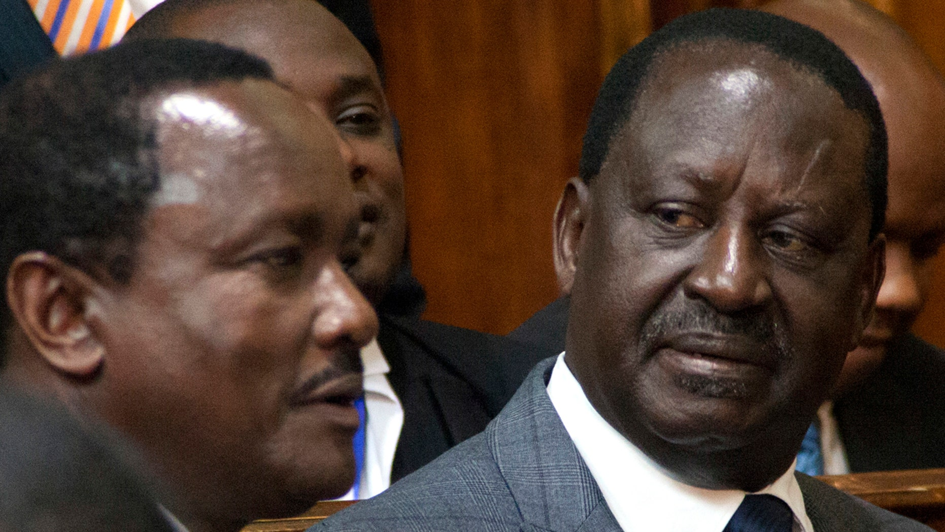 Opposition presidential candidate Raila Odinga, right, and his running mate, Kalonzo Musyoka sit, at the Kenya Supreme Court, in Nairobi, Friday, Sept. 1, 2017.