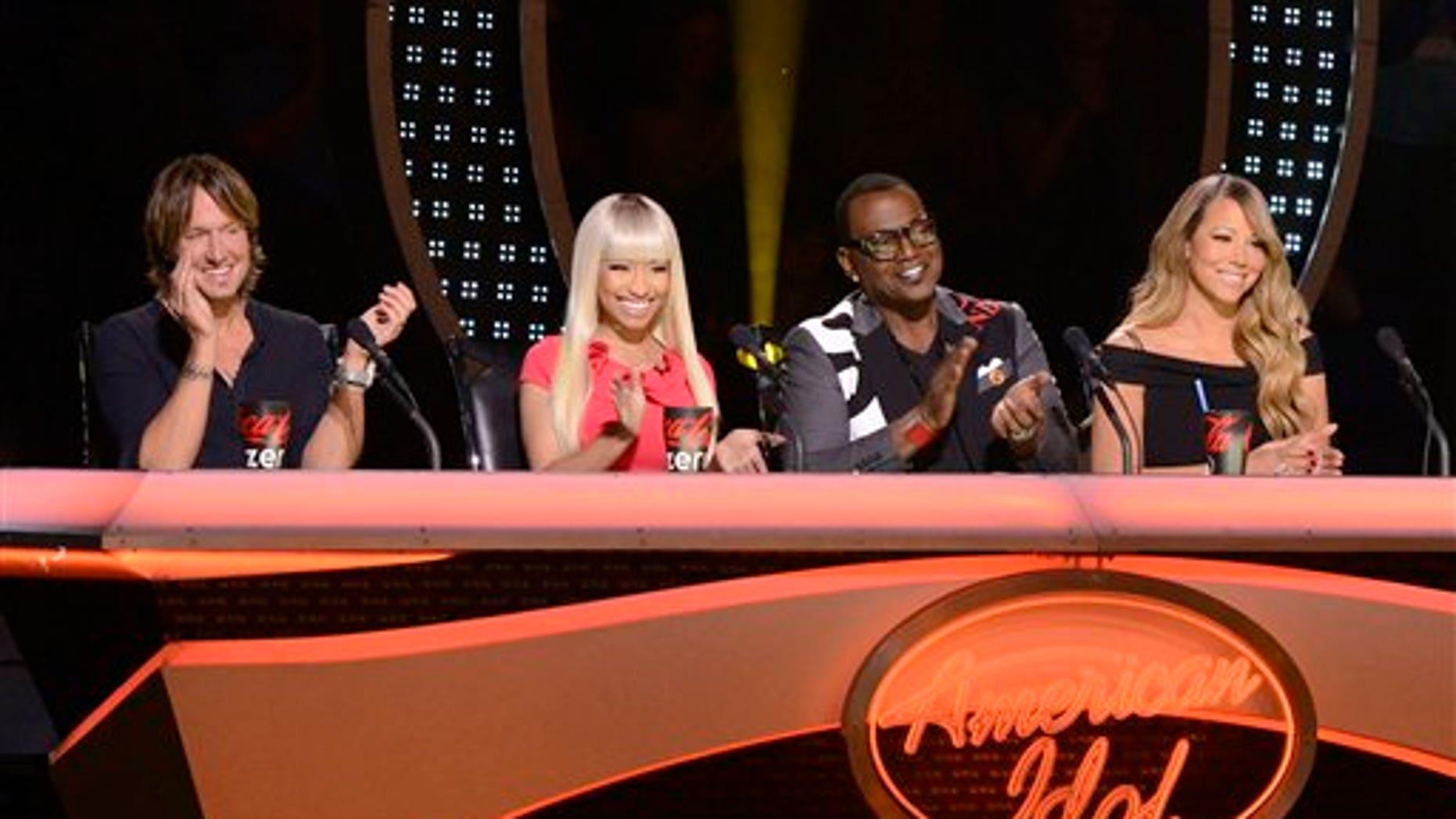 "Keith Urban, Nicki Minaj, Randy Jackson and Mariah Carey appear on ""American Idol."""