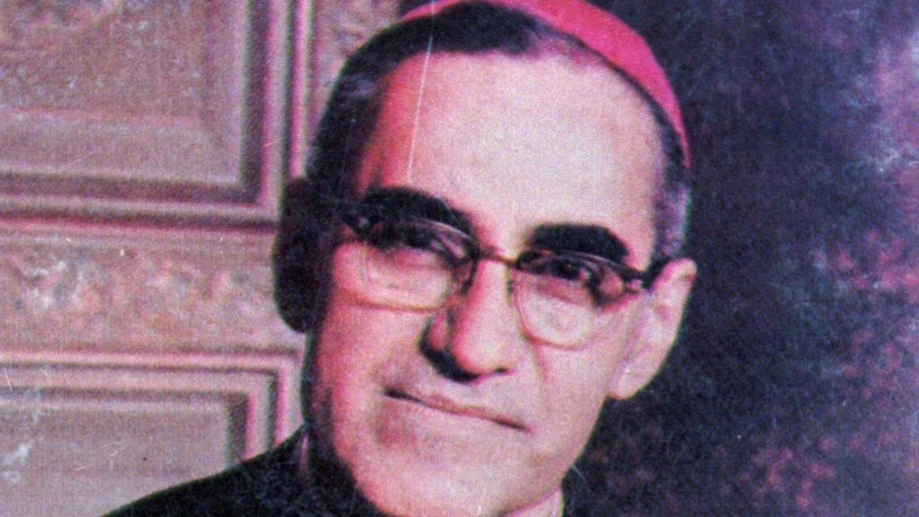 FILE - This undated file photo shows Archbishop Oscar Arnulfo Romero, who was gunned down while giving Mass in a San Salvador church on March 24, 1980. Roman Catholic authorities in El Salvador said on Sunday, March 5, 2017 that the Vatican is studying a possible miracle attributed to Romero that could lead to the once-controversial cleric's canonization. (AP Photo, File)