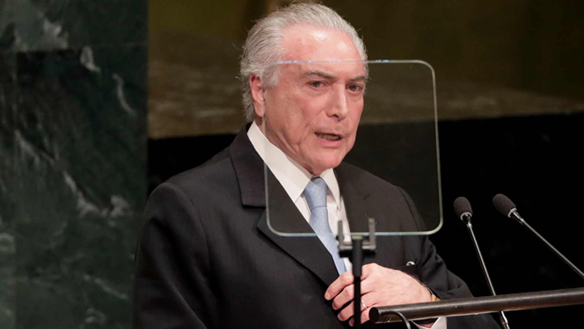 Michel Temer, President of Brazil, during the United Nations General Assembly, Tuesday, Sept. 20, 2016.