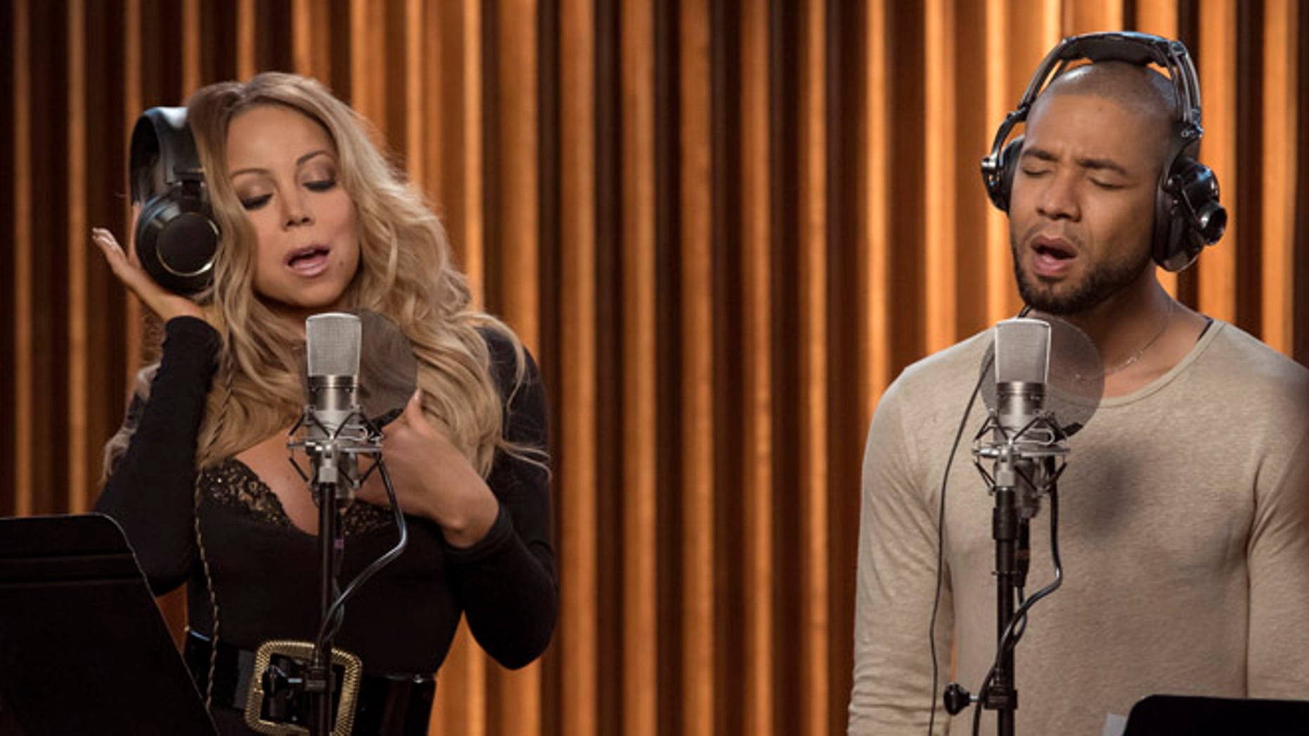 """EMPIRE: Pictured L-R: Guest star Mariah Carey and Jussie Smollett in the """"What Remains is Bestial"""" episode of EMPIRE airing Wednesday, Oct. 5 (9:00-10:00 PM ET/PT) on FOX. ©2016 Fox Broadcasting Co. CR: Chuck Hodes/FOX"""