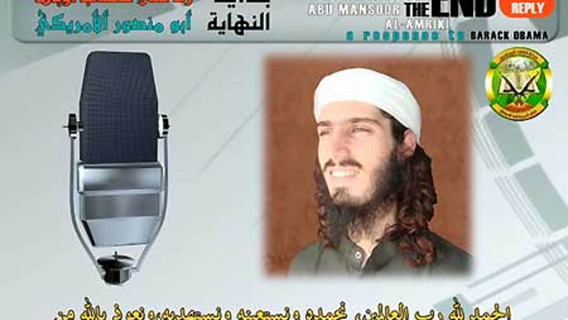 A still image accompanying a new audio tape from Abu Mansour al-Amriki, a member of the Al Qaeda-linked Somali terrorist group al-Shabaab.