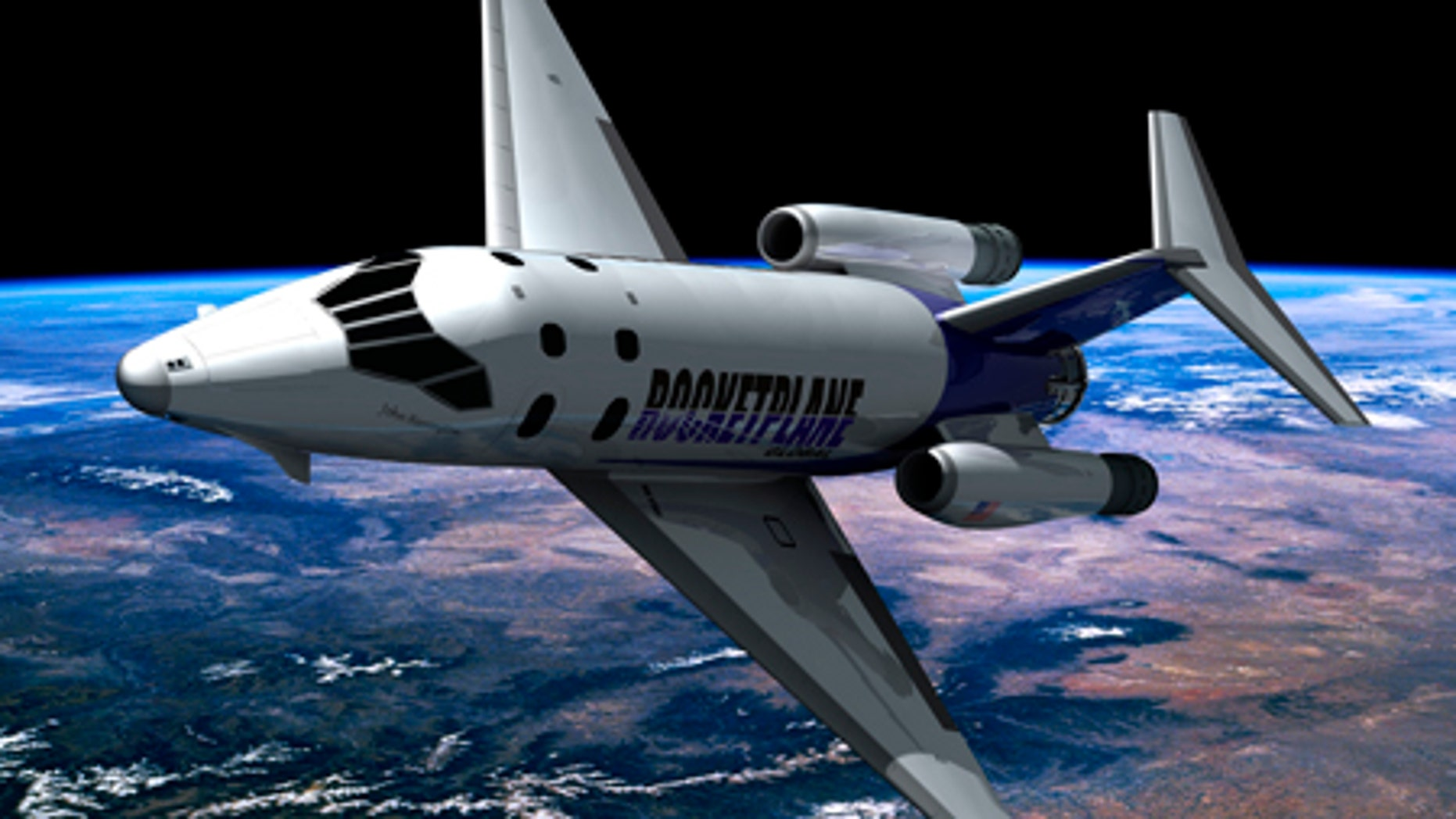This conceptual artist rendering shows the Rocketplane XP spacecraft.