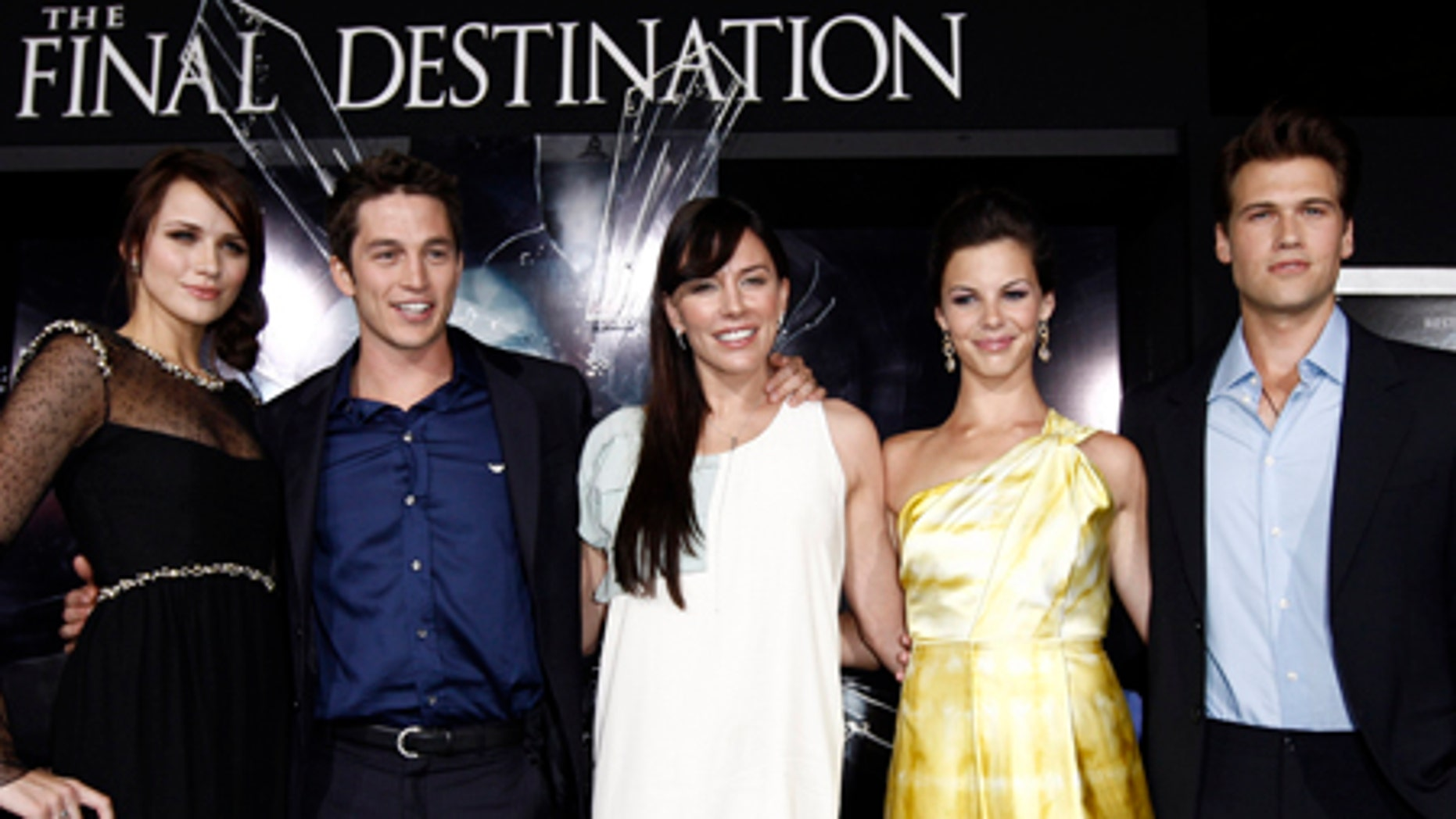 """From left, cast members Shantel VanSanten, Bobby Campo, Krista Allen, Haley Webb, and Nick Zano pose together at the premiere of """"The Final Destination"""" in Los Angeles on Thursday, Aug. 27, 2009.  (AP Photo/Matt Sayles)"""