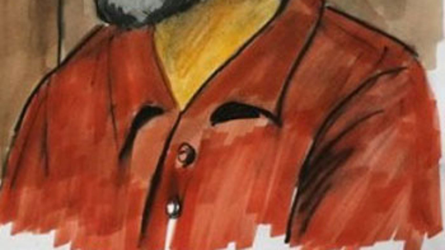 A courtroom sketch of Tahawwur Hussain Rana, charged with plotting a terrorist attack on a Danish newspaper.