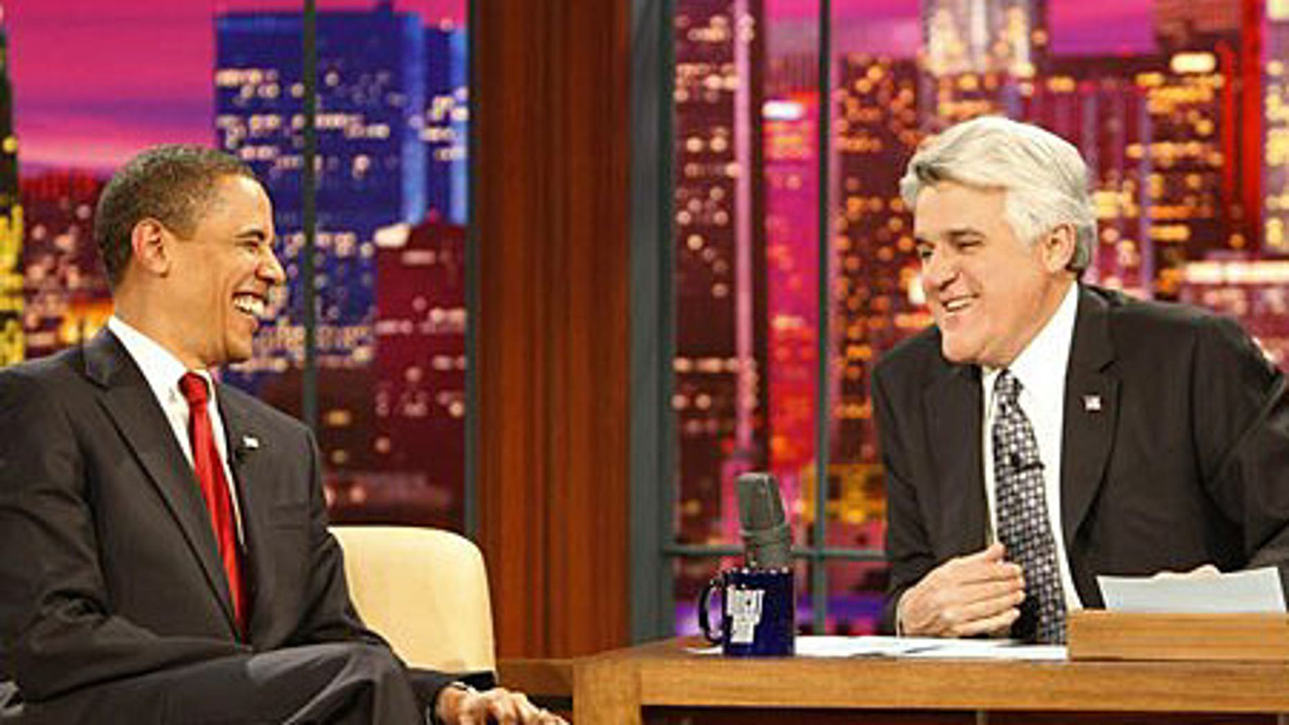 President Obama shares a laugh with Jay Leno on 'The Tonight Show'
