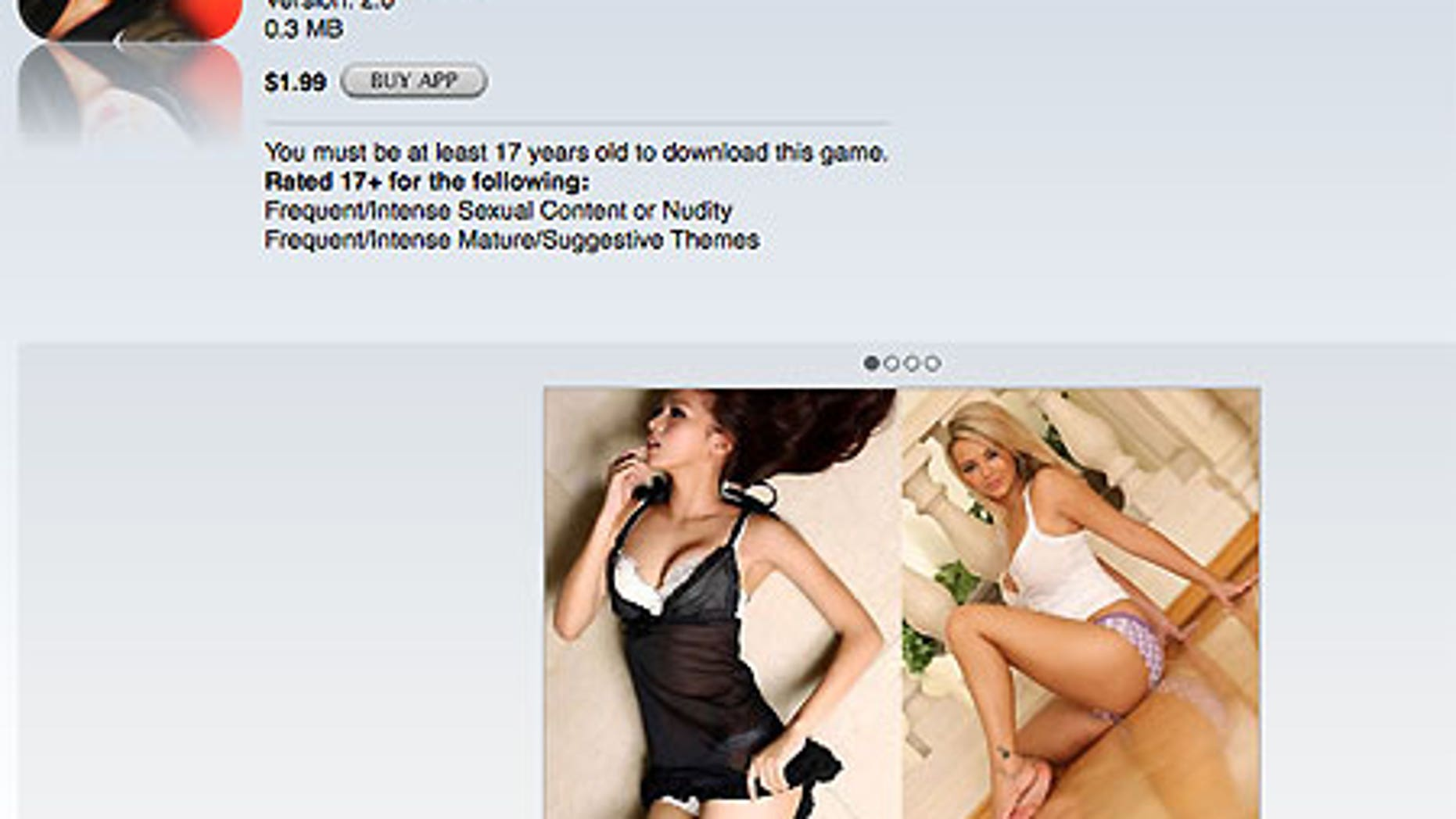 A screen grab of the iTunes App Store splash page for 'Hottest Girls.'