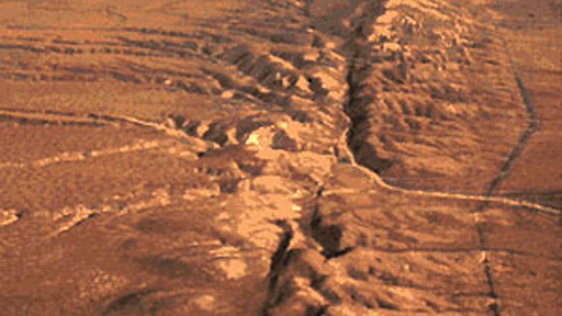 Part of the visible section of the San Andreas Fault.